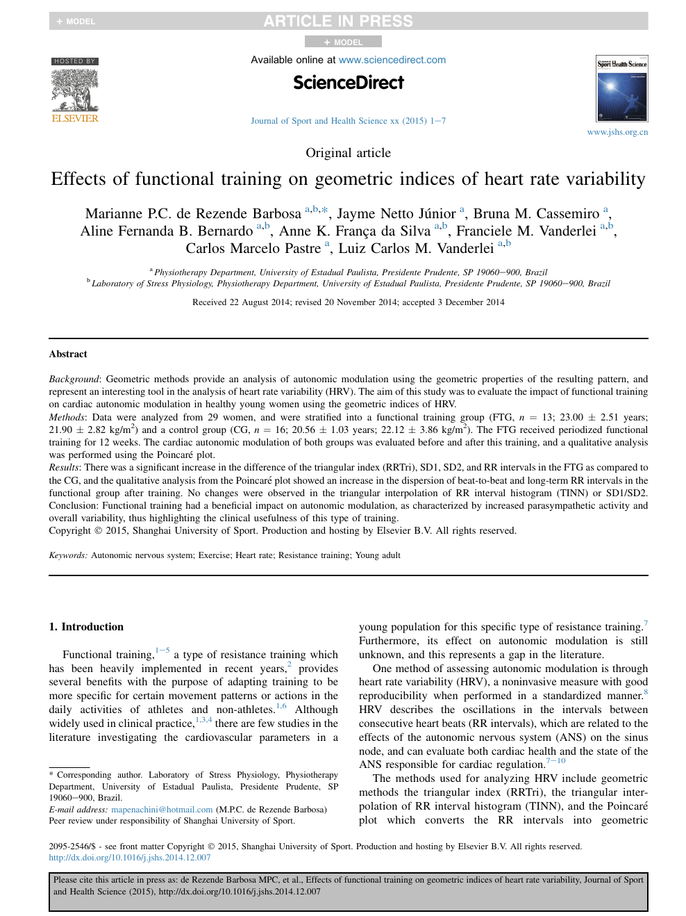 Effects of functional training on geometric indices of heart rate