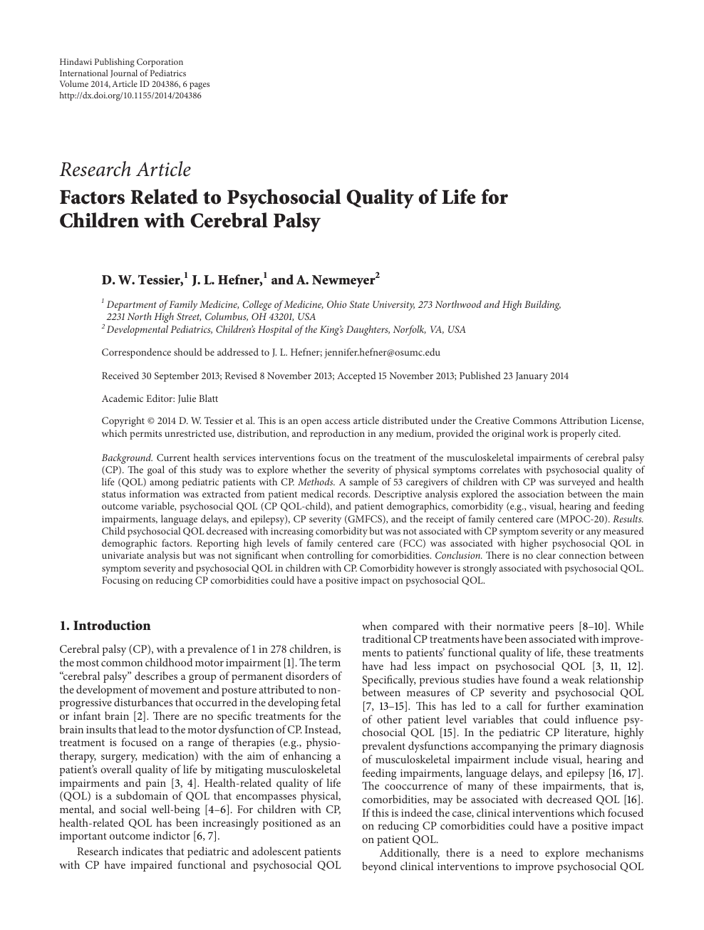 Factors Related to Psychosocial Quality of Life for Children