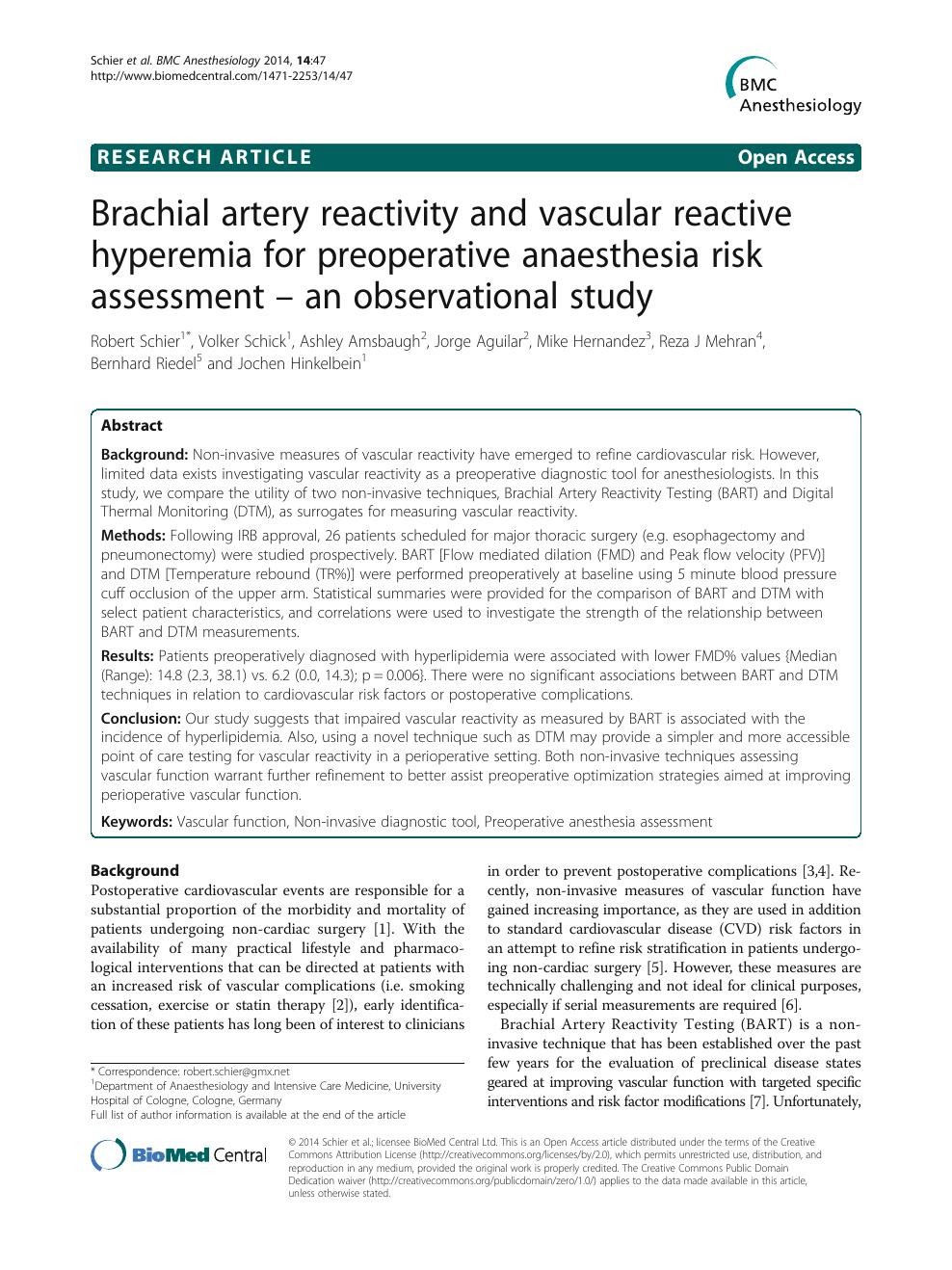 Brachial artery reactivity and vascular reactive hyperemia