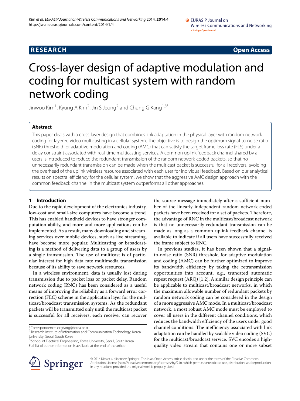 Cross-layer design of adaptive modulation and coding for