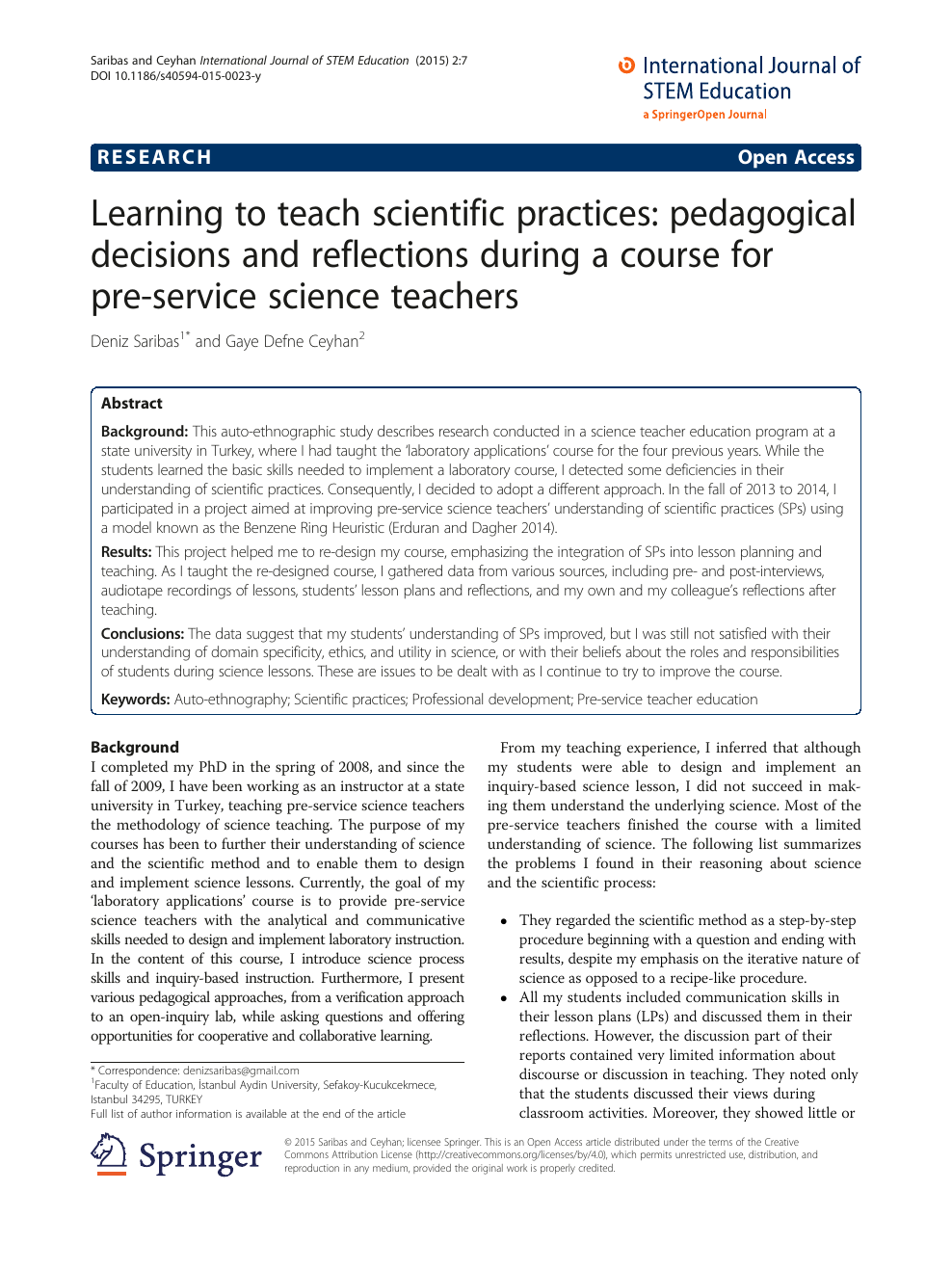 Learning To Teach Scientific Practices Pedagogical Decisions And Reflections During A Course For Pre Service Science Teachers Topic Of Research Paper In Educational Sciences Download Scholarly Article Pdf And Read For Free