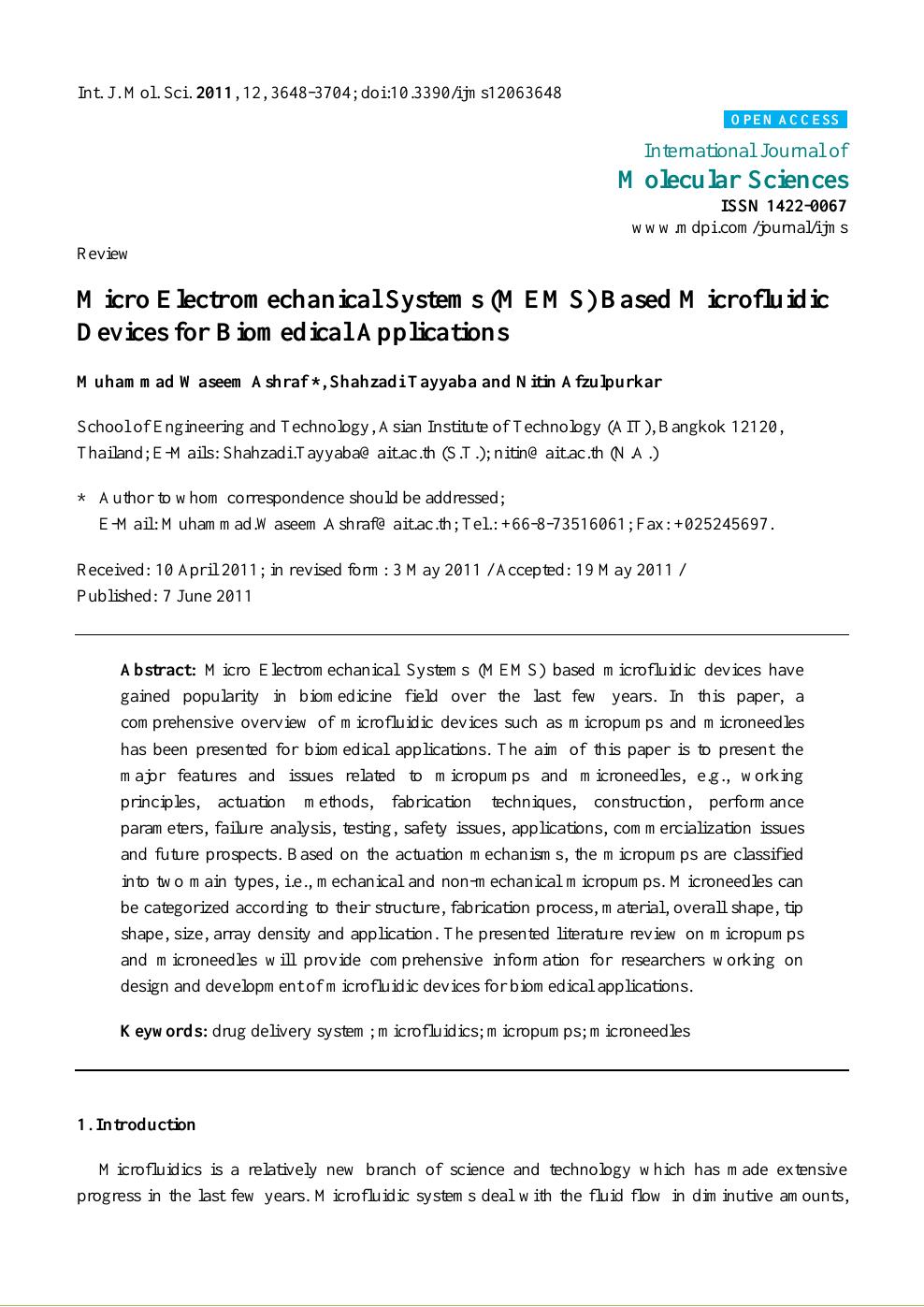 Micro Electromechanical Systems (MEMS) Based Microfluidic