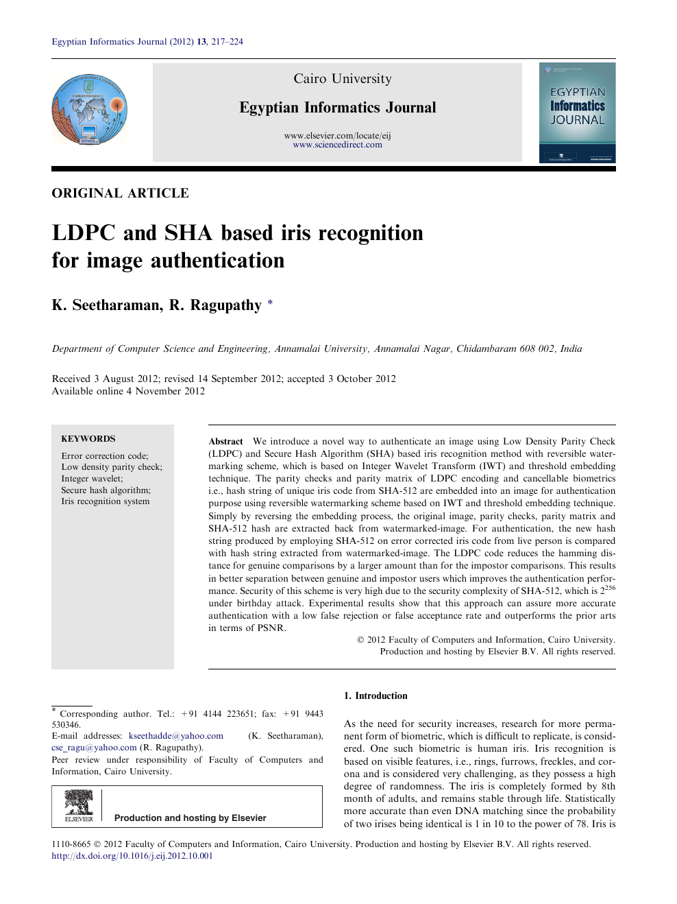 LDPC and SHA based iris recognition for image authentication