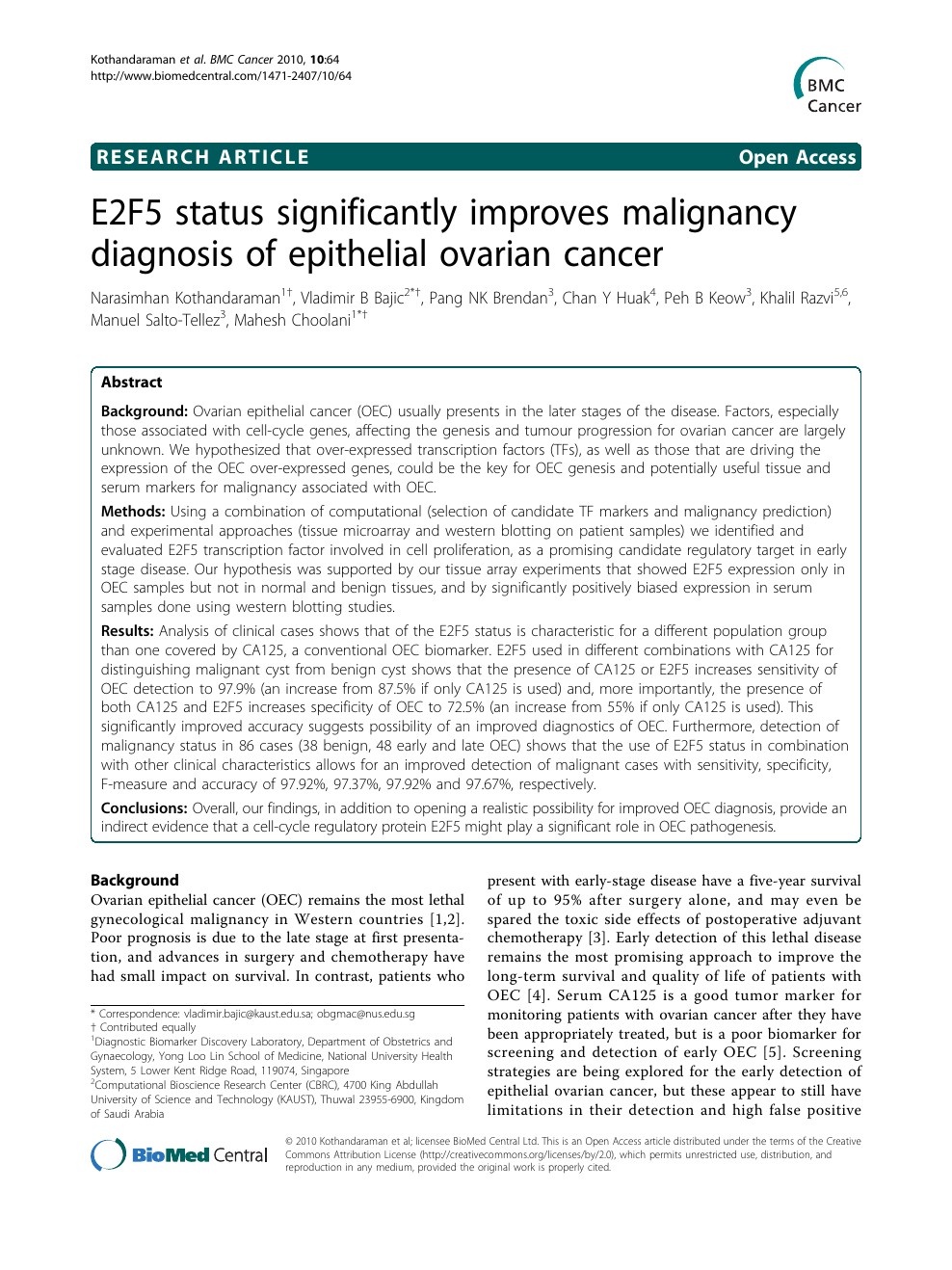 E2f5 Status Significantly Improves Malignancy Diagnosis Of Epithelial Ovarian Cancer Topic Of Research Paper In Clinical Medicine Download Scholarly Article Pdf And Read For Free On Cyberleninka Open Science Hub