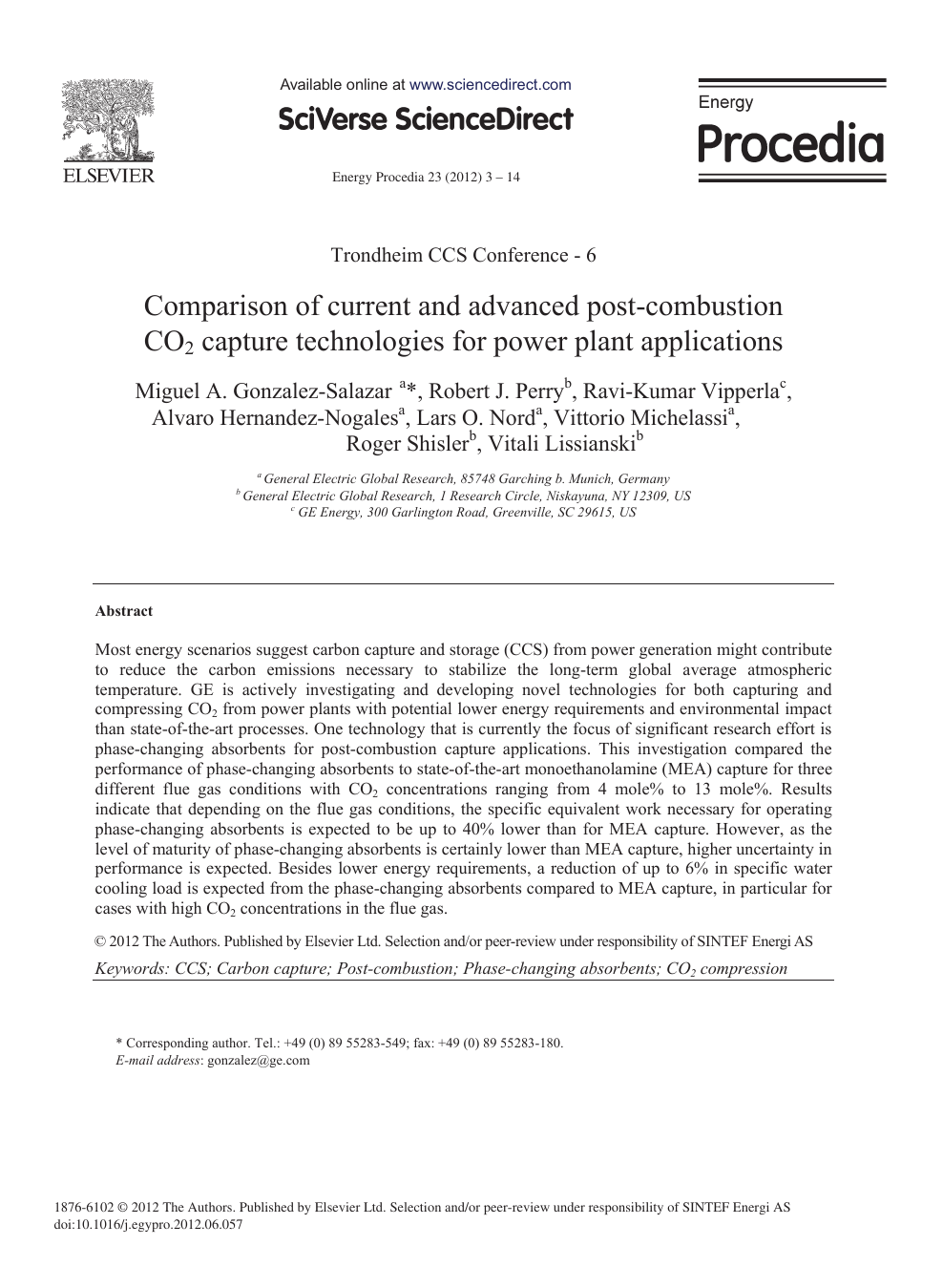 Comparison of Current and Advanced Post-Combustion CO2
