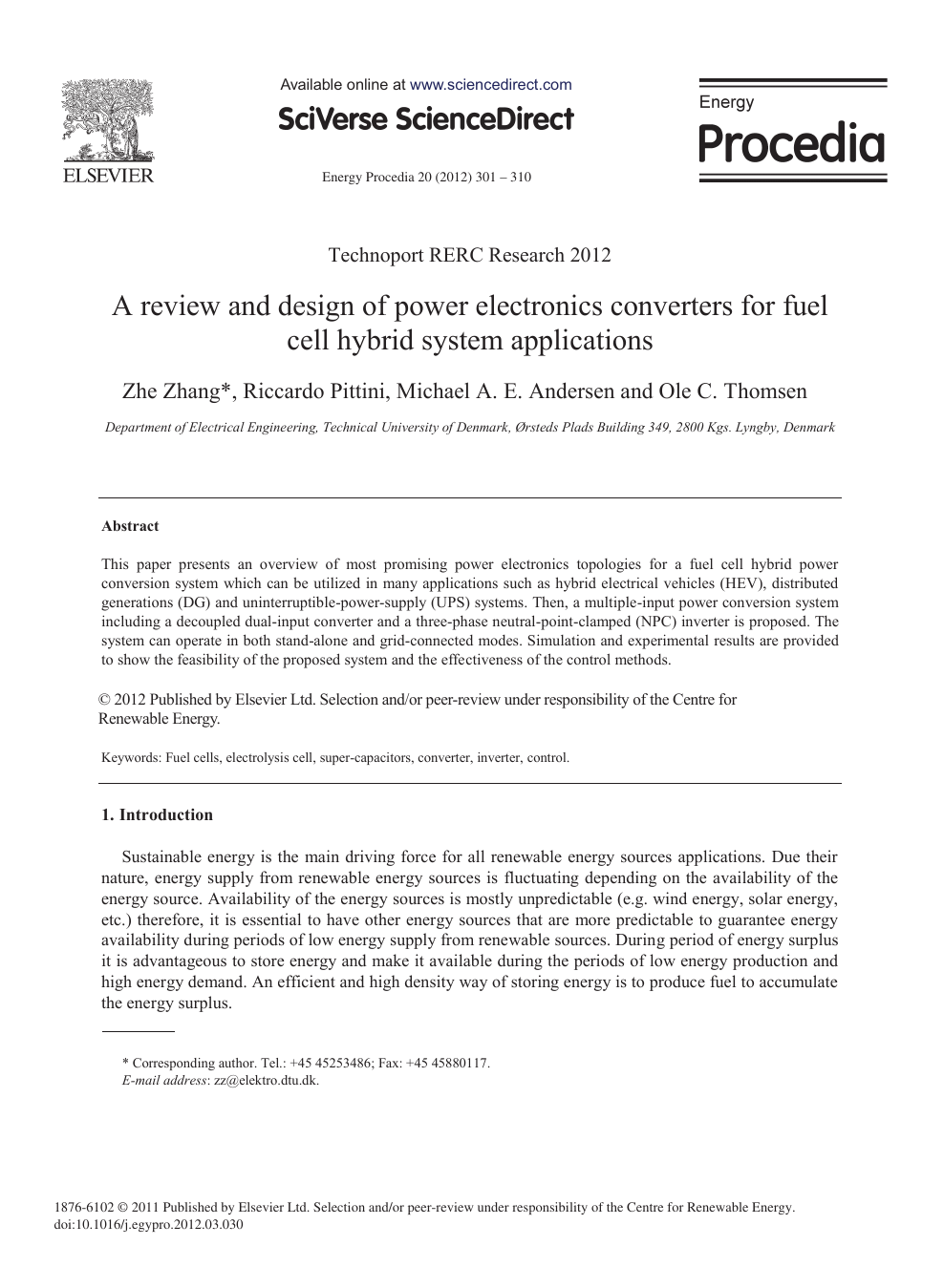 A Review and Design of Power Electronics Converters for Fuel