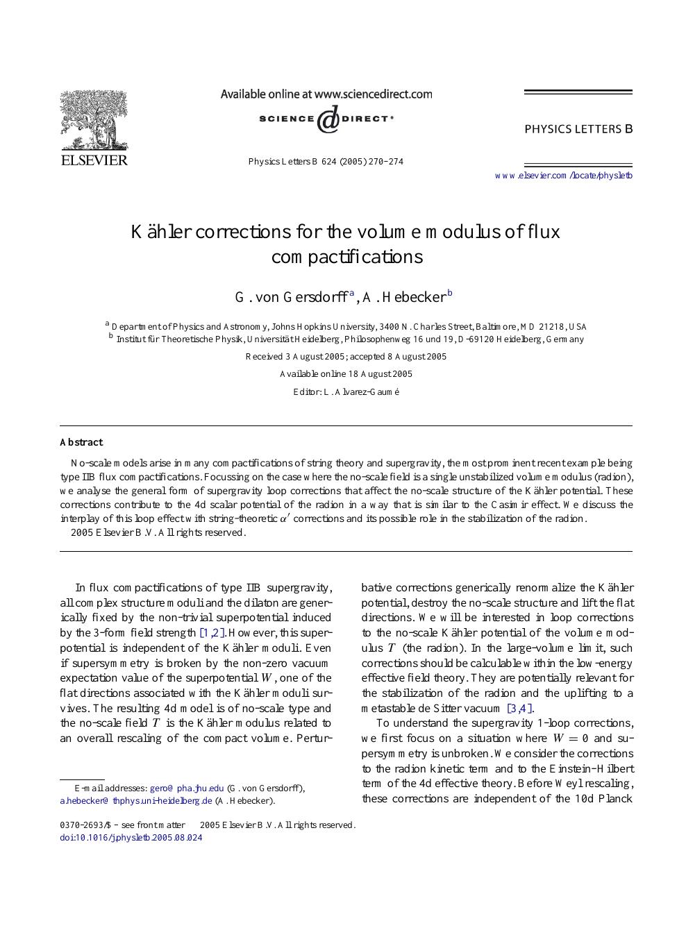 Kähler corrections for the volume modulus of flux