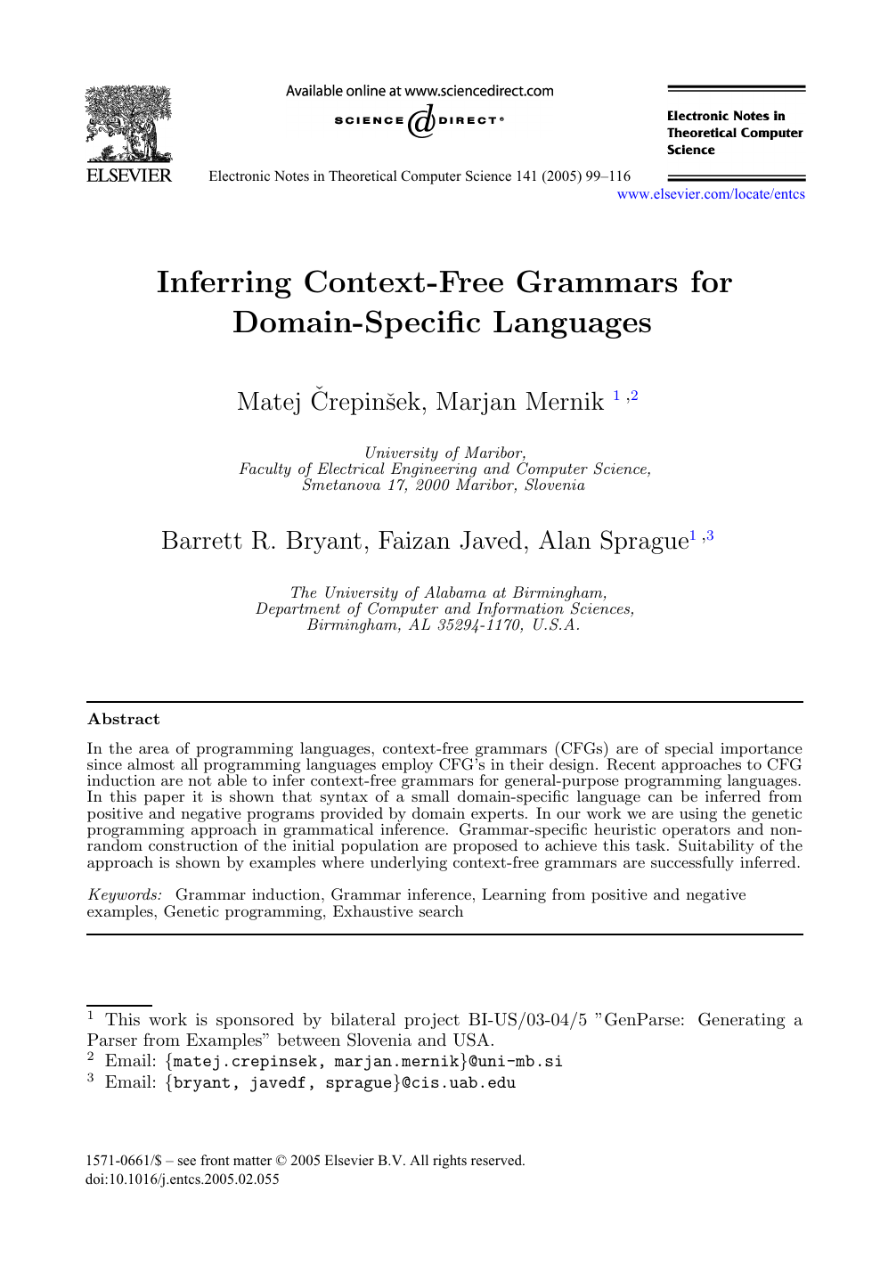 Inferring Context Free Grammars For Domain Specific