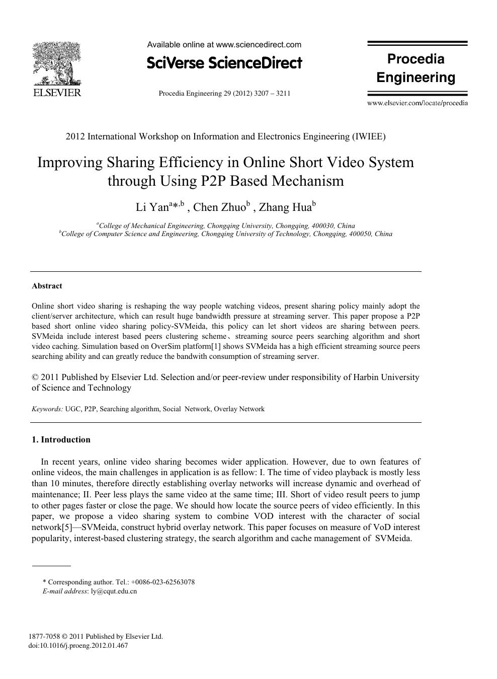 Improving Sharing Efficiency in Online Short Video System