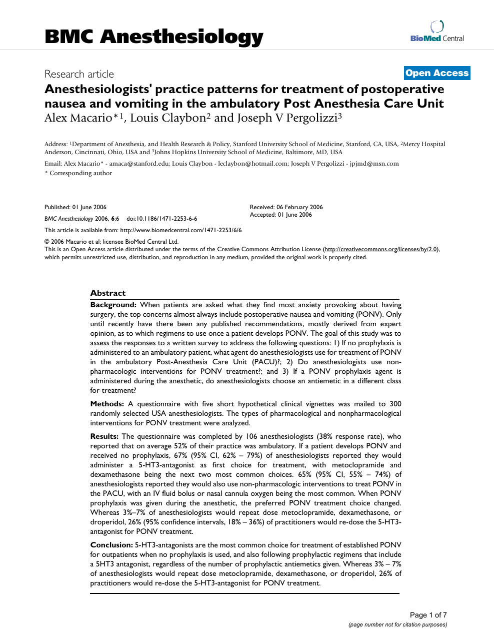 Anesthesiologists' practice patterns for treatment of