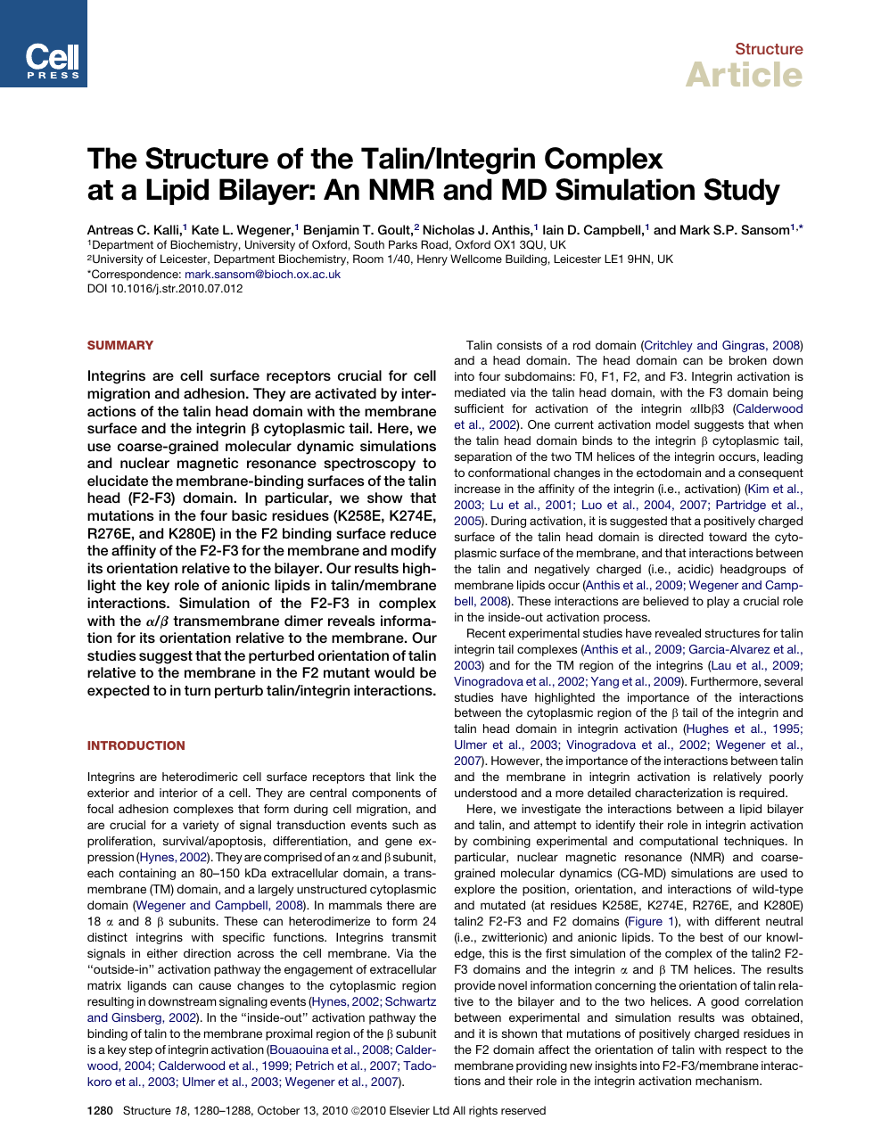 The Structure of the Talin/Integrin Complex at a Lipid Bilayer: An