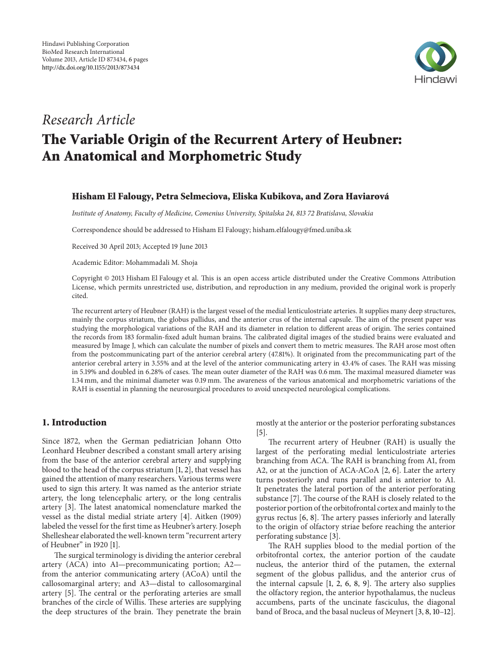 The Variable Origin Of The Recurrent Artery Of Heubner An