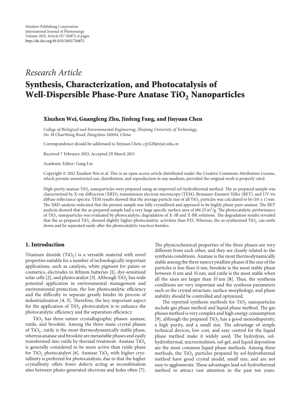 Synthesis, Characterization, and Photocatalysis of Well