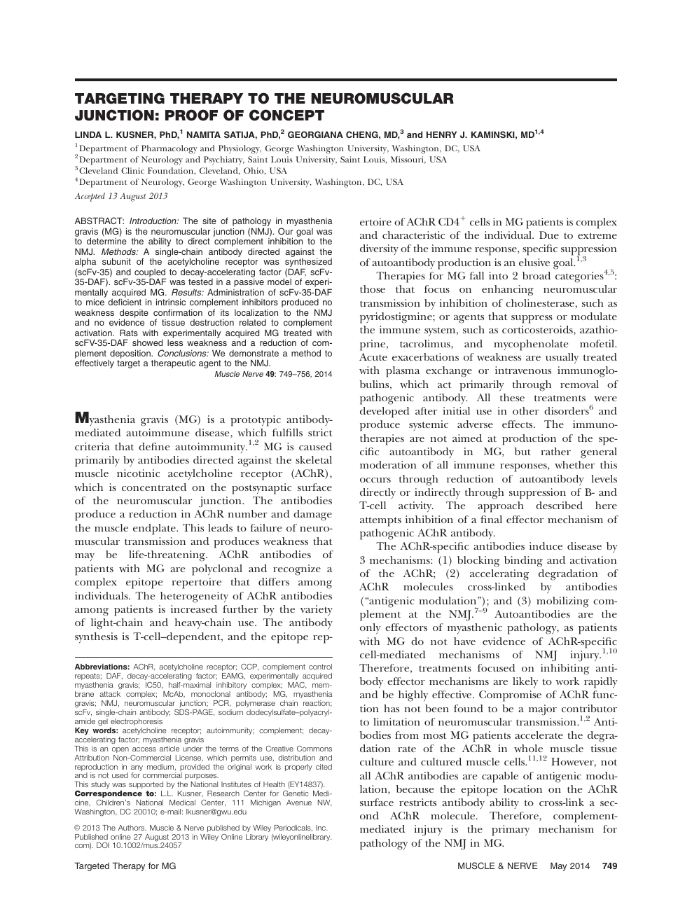 Targeting therapy to the neuromuscular junction: Proof of concept