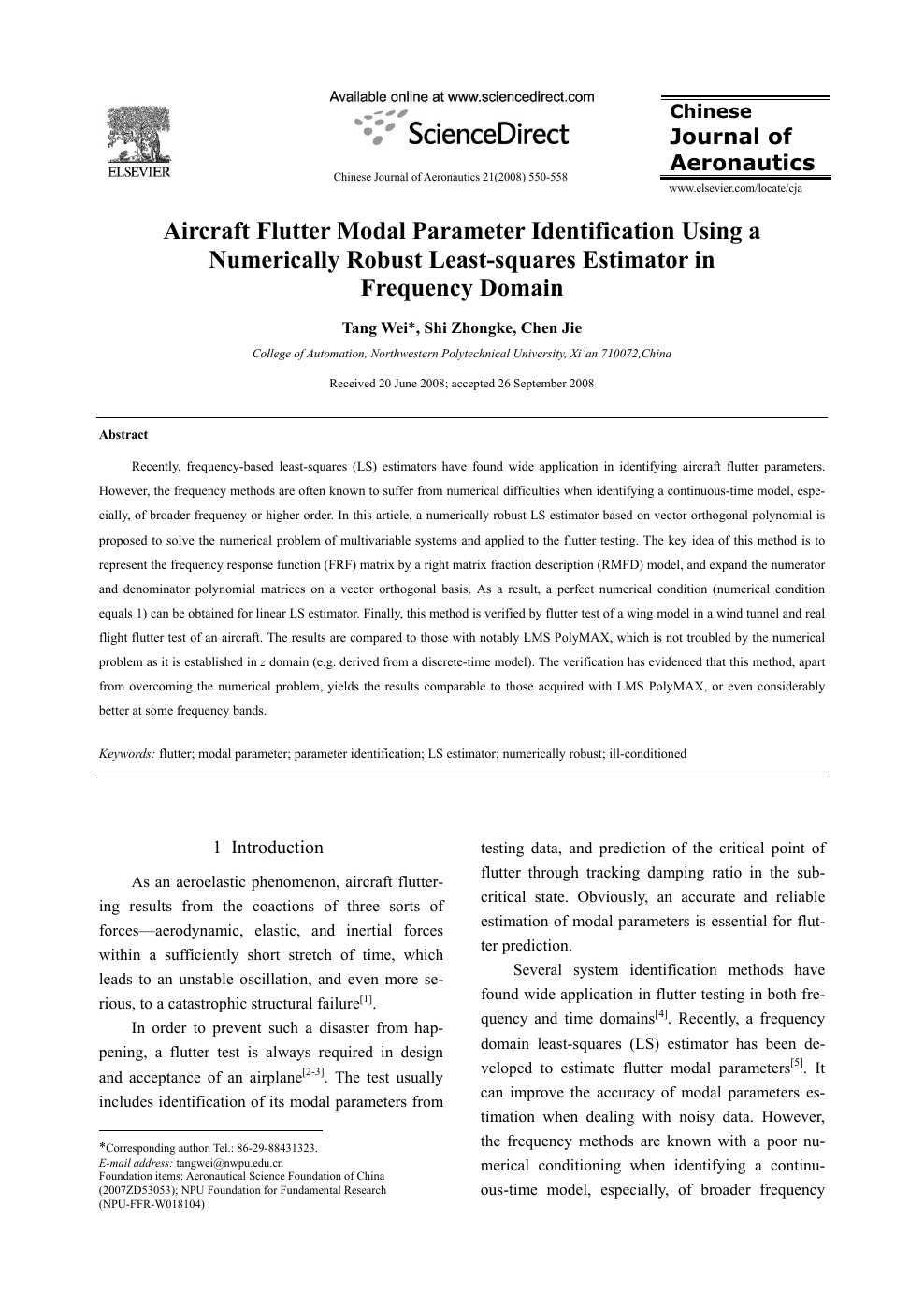 Aircraft Flutter Modal Parameter Identification Using a Numerically