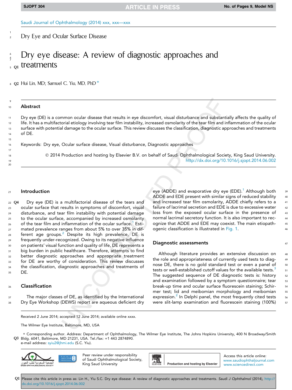 Dry eye disease: A review of diagnostic approaches and treatments
