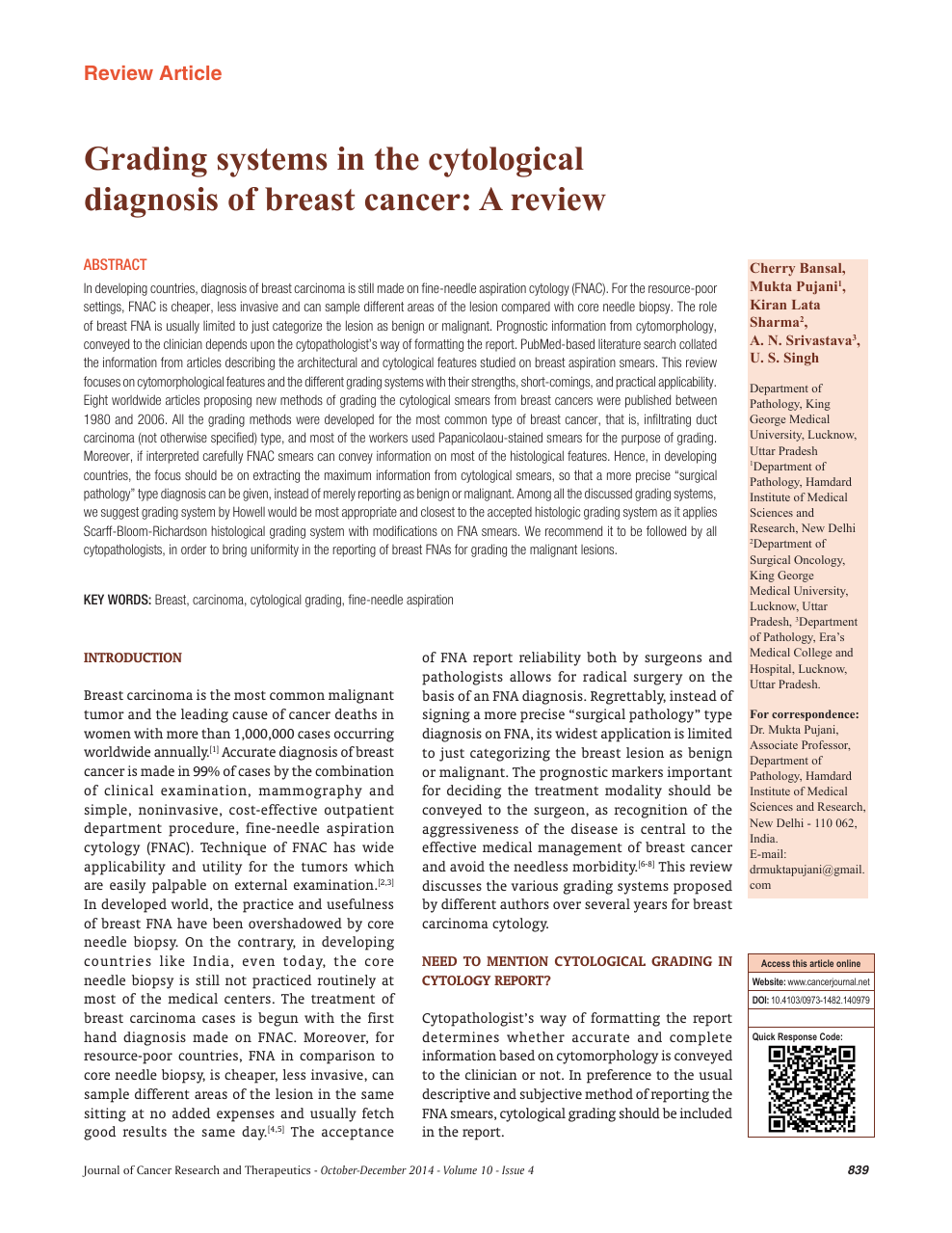 Grading systems in the cytological diagnosis of breast
