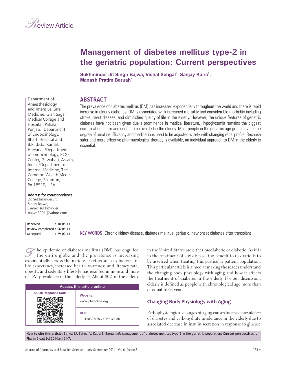 Management of diabetes mellitus type-2 in the geriatric population