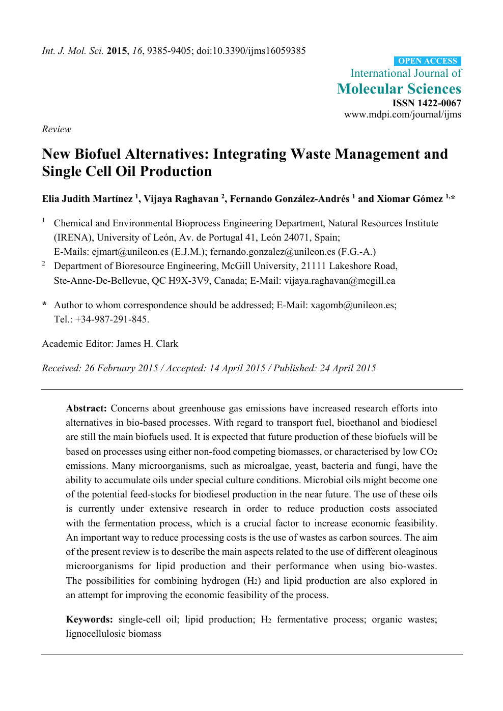 New Biofuel Alternatives: Integrating Waste Management and