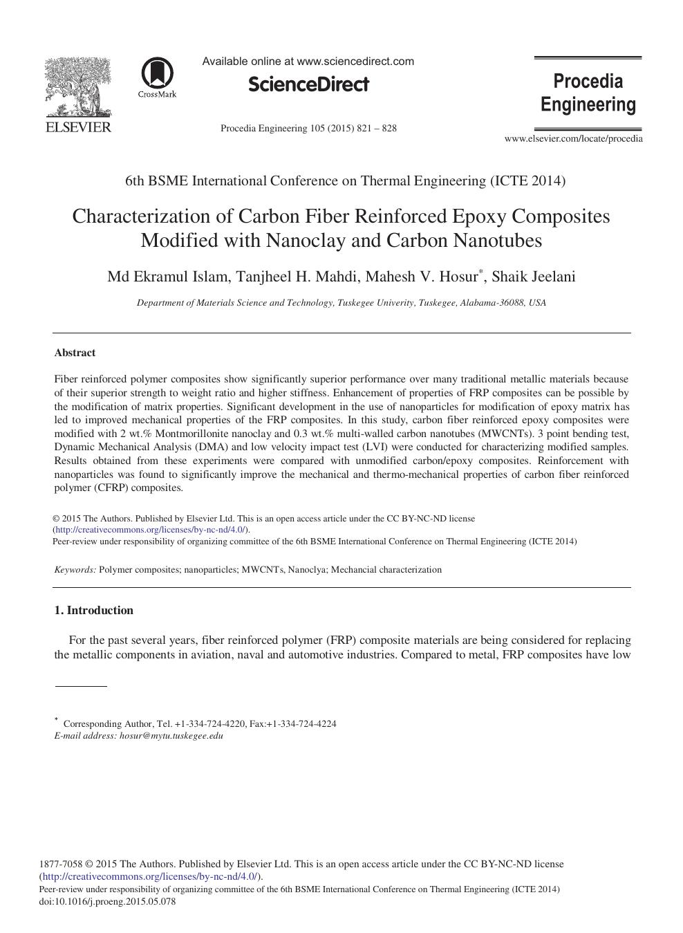 Characterization of Carbon Fiber Reinforced Epoxy Composites
