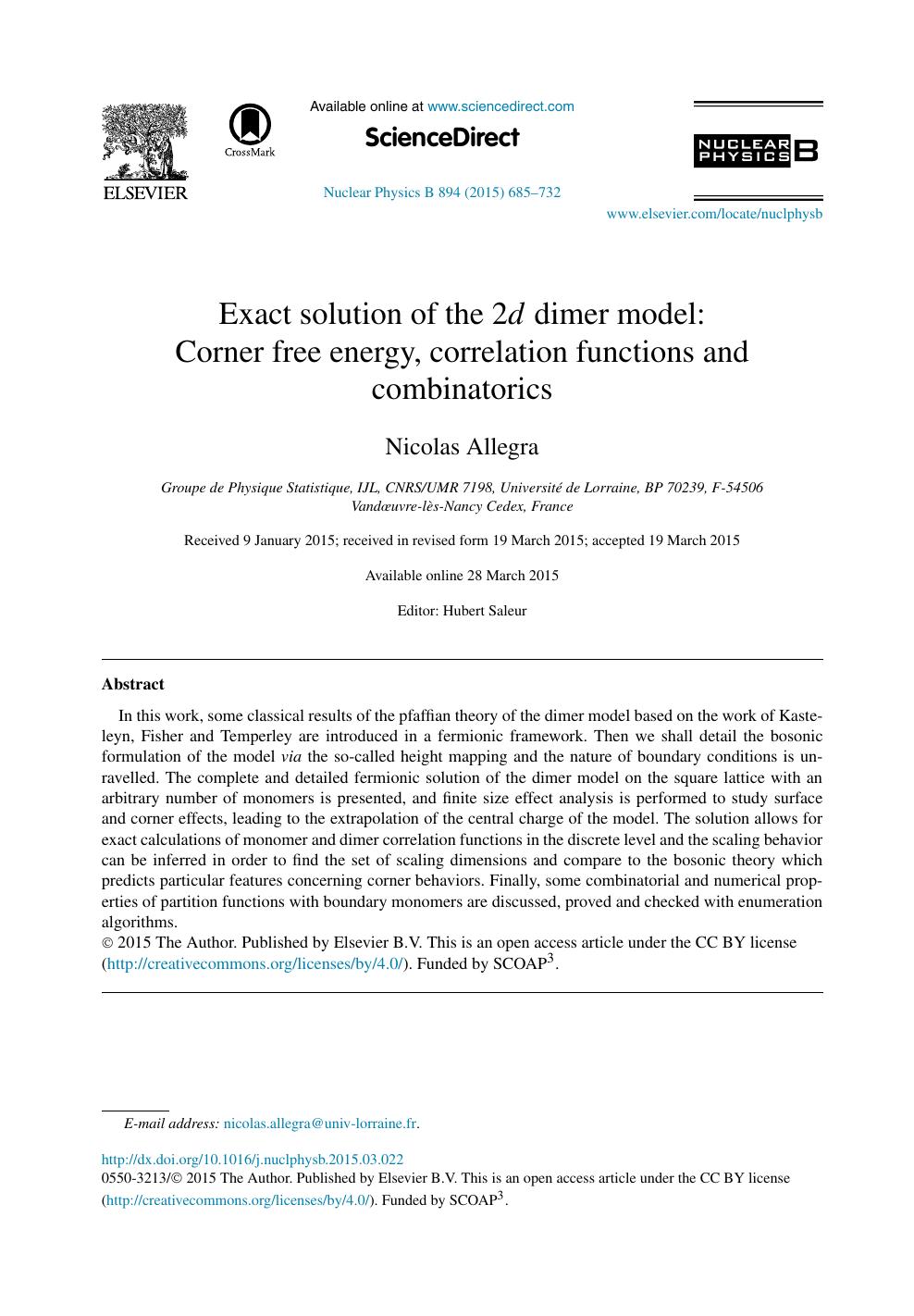 Exact solution of the 2d dimer model: Corner free energy