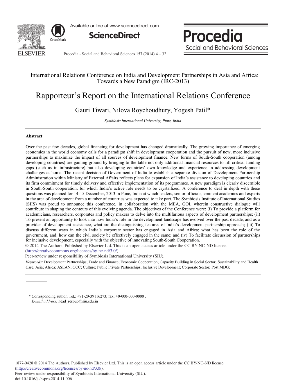 Rapporteur's Report on the International Relations Conference