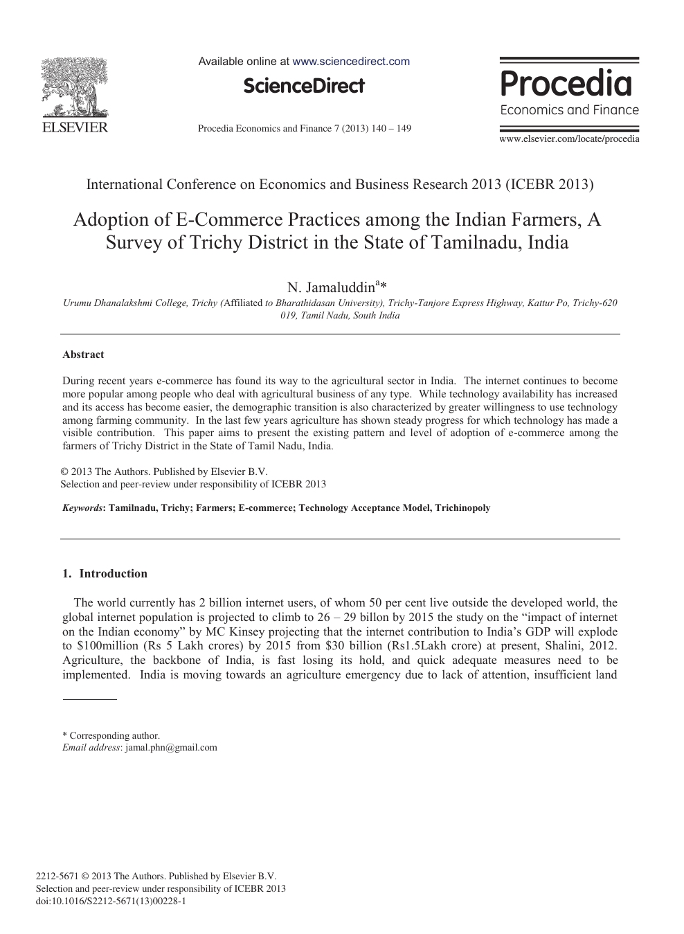 Adoption of E-commerce Practices among the Indian Farmers, a