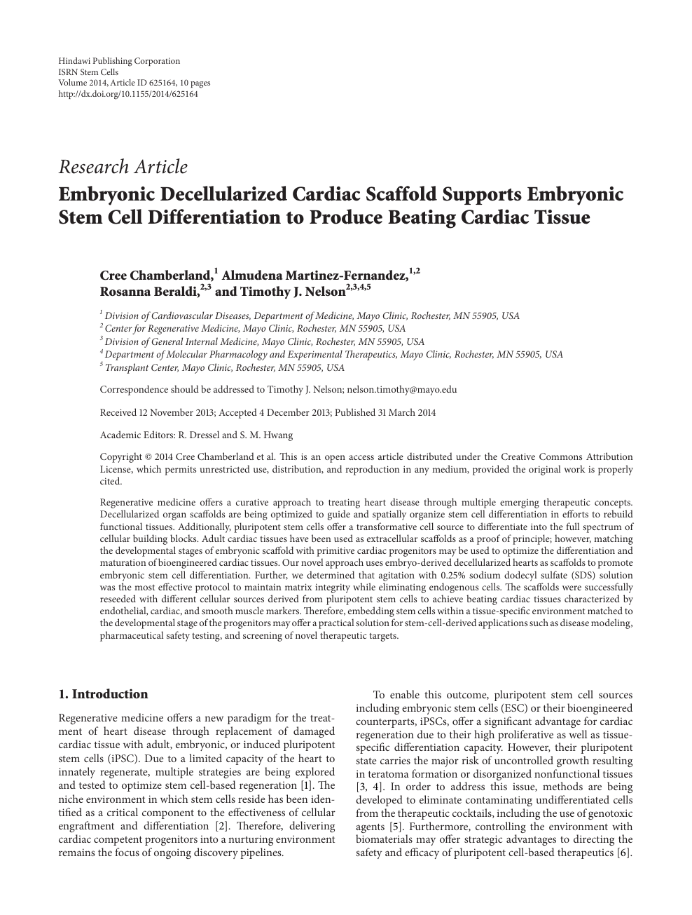 Embryonic Decellularized Cardiac Scaffold Supports Embryonic