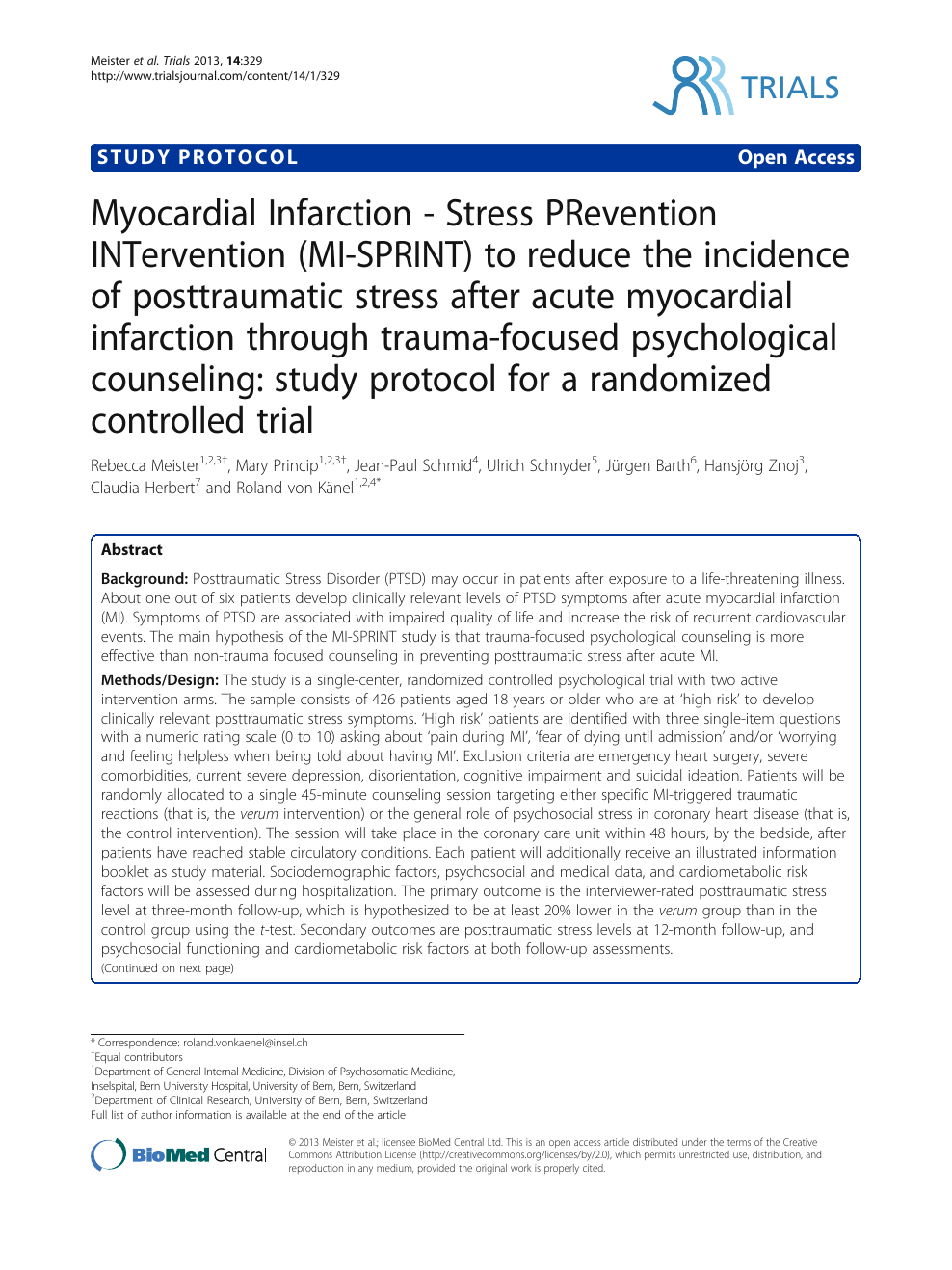 Myocardial Infarction - Stress PRevention INTervention (MI