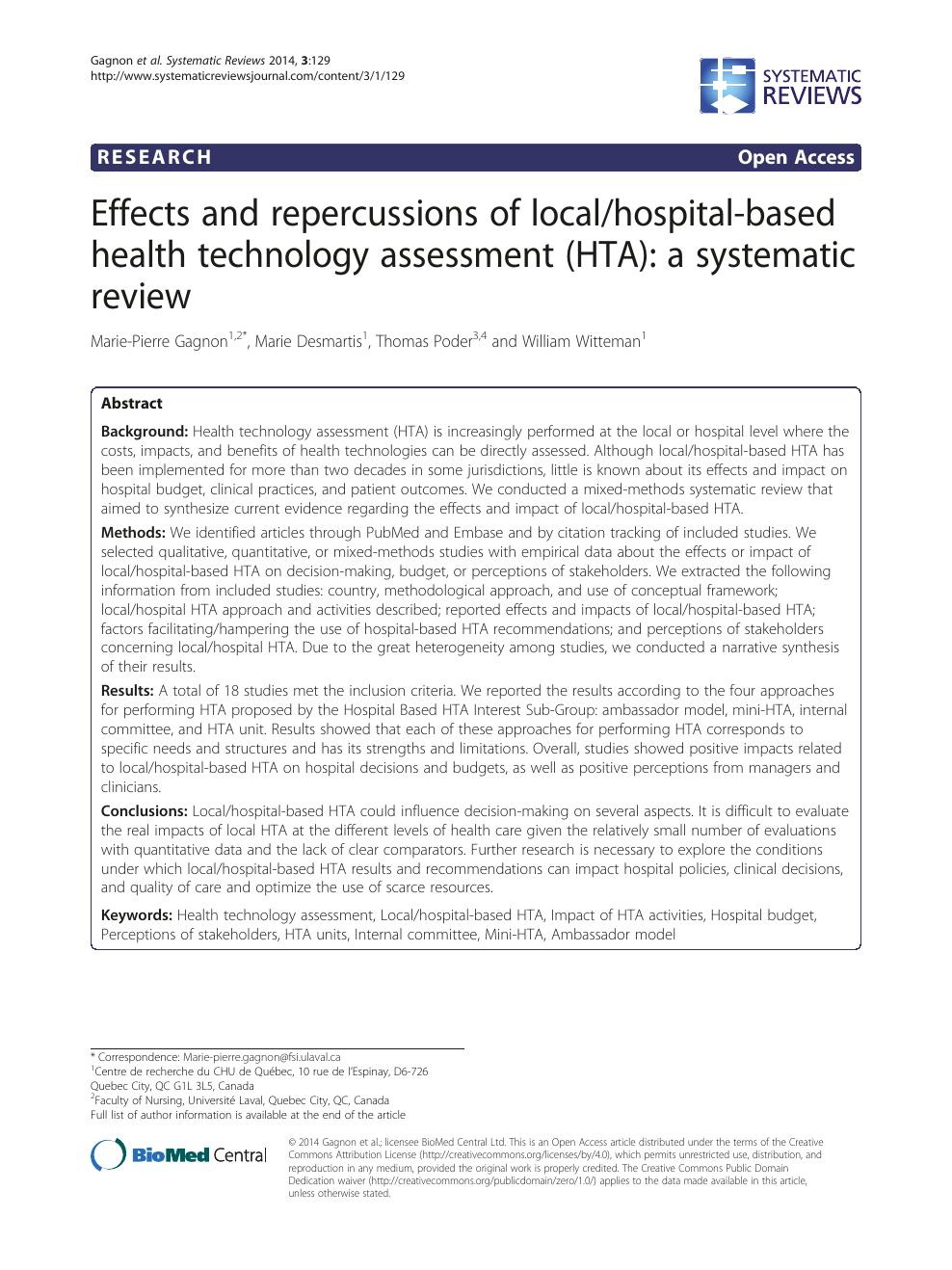 Effects and repercussions of local/hospital-based health