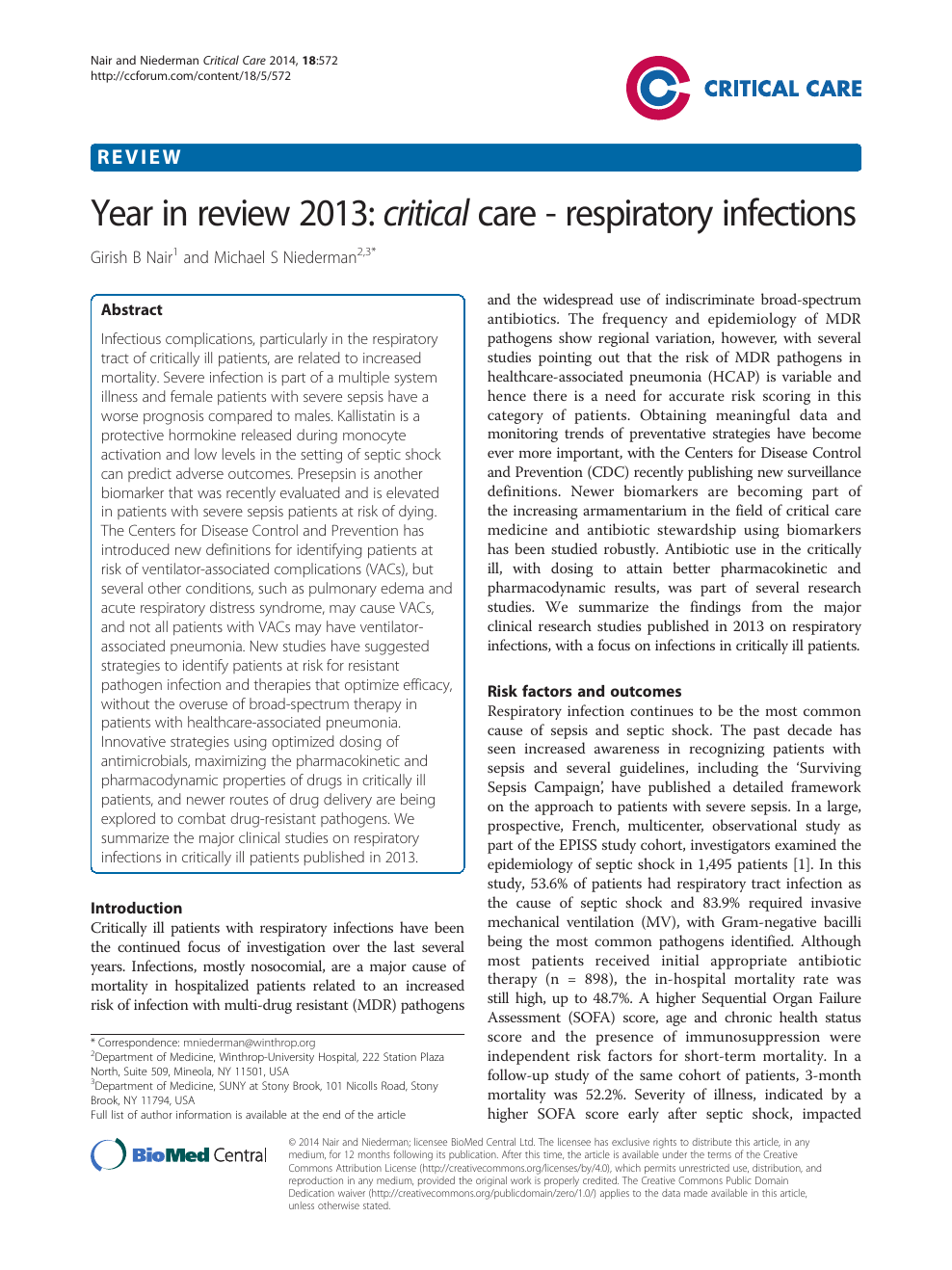 Year in review 2013: critical care - respiratory infections