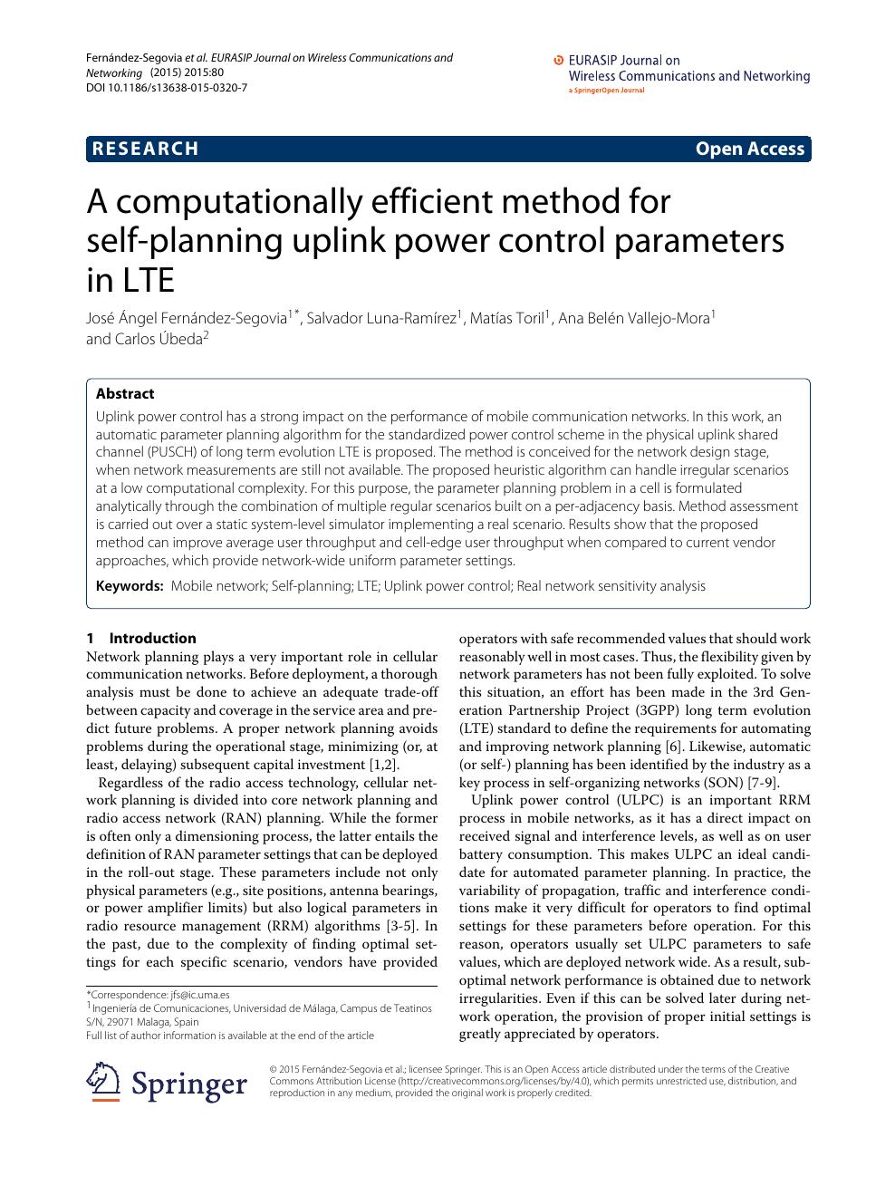 A computationally efficient method for self-planning uplink
