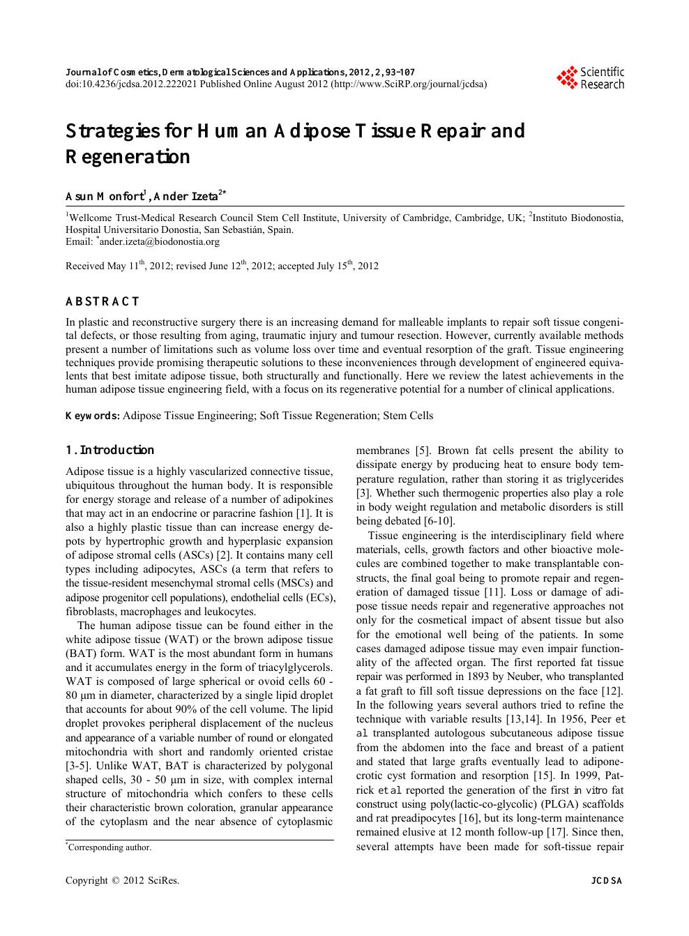 Strategies for Human Adipose Tissue Repair and Regeneration