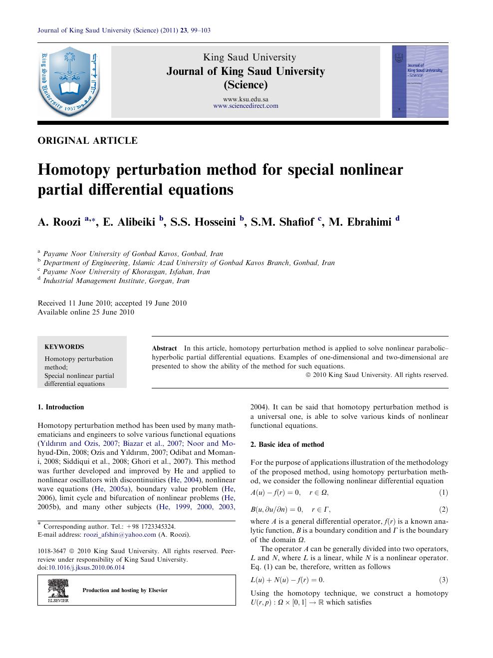 Homotopy perturbation method for special nonlinear partial