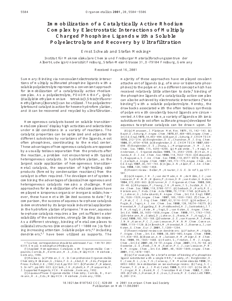 Immobilization Of A Catalytically Active Rhodium Complex By Electrostatic Interactions Of Multiply Charged Phosphine Ligands With A Soluble Polyelectrolyte And Recovery By Ultrafiltration Topic Of Research Paper In Chemical Sciences Download