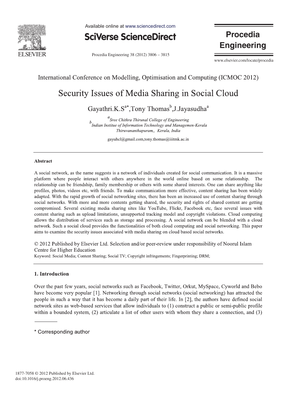 Security Issues of Media Sharing in Social Cloud – topic of research