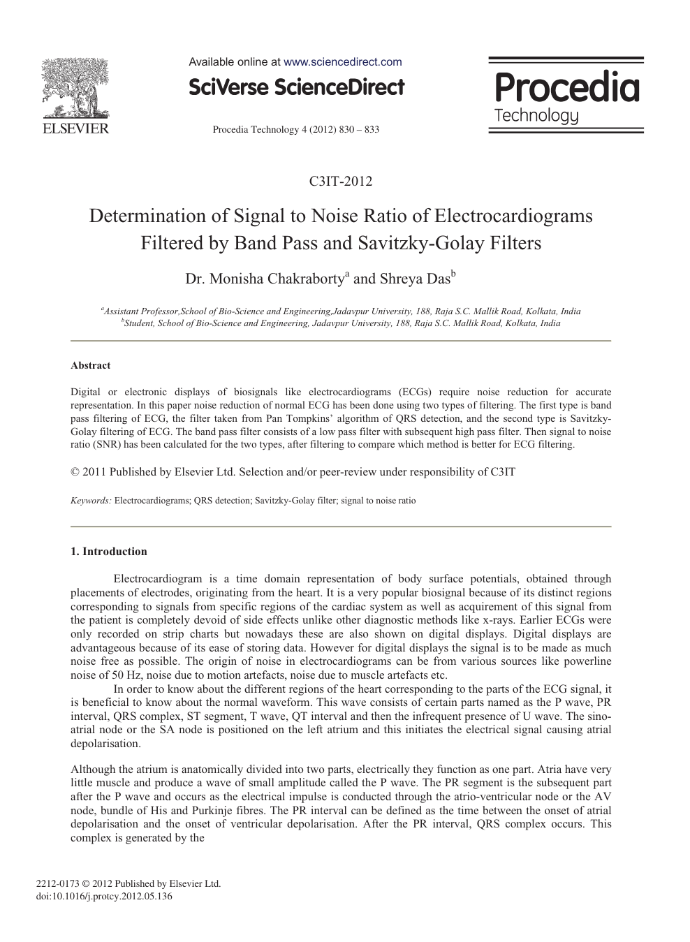 Determination of Signal to Noise Ratio of Electrocardiograms