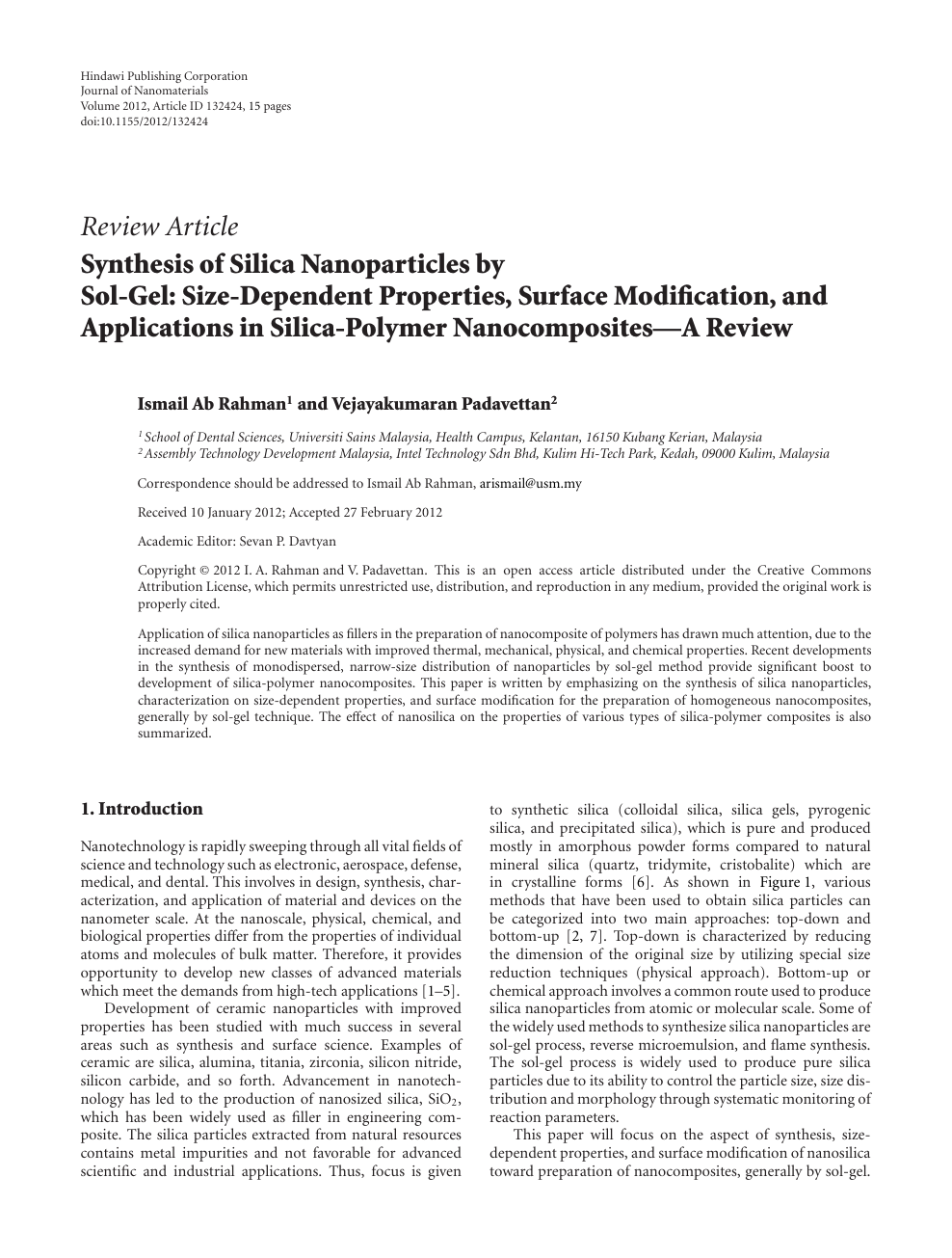 Synthesis of Silica Nanoparticles by Sol-Gel: Size-Dependent