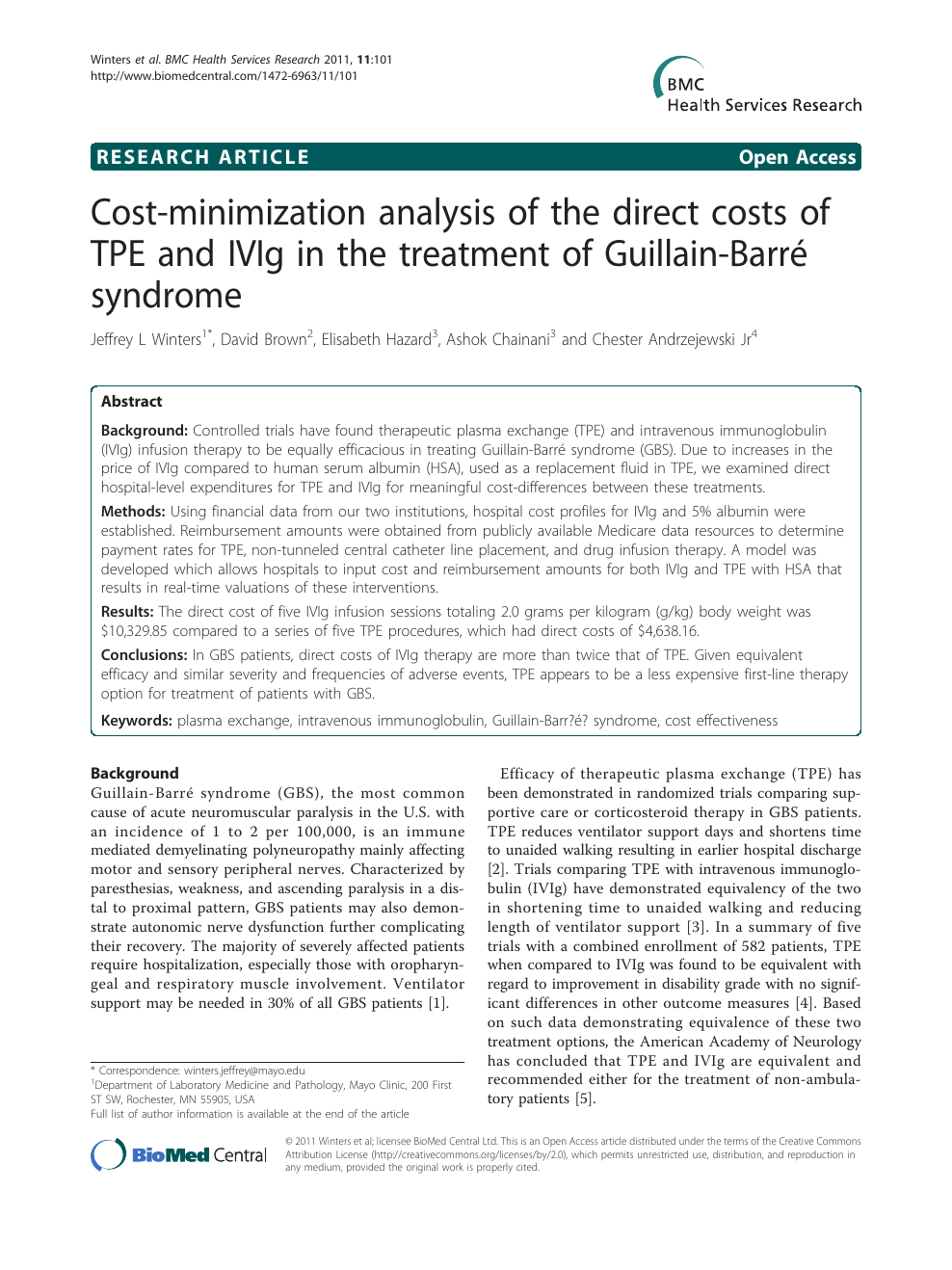 Cost-minimization analysis of the direct costs of TPE and