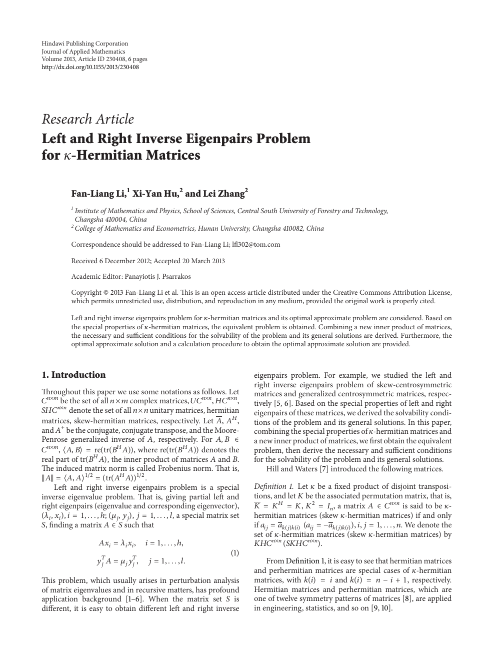 Left and Right Inverse Eigenpairs Problem for -Hermitian