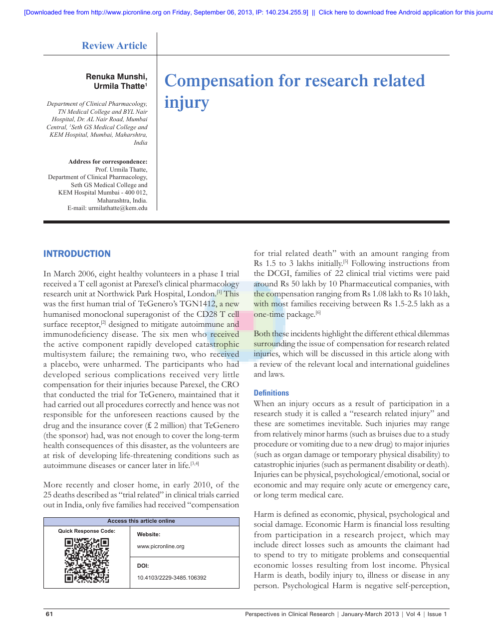 Compensation for research related injury – topic of research