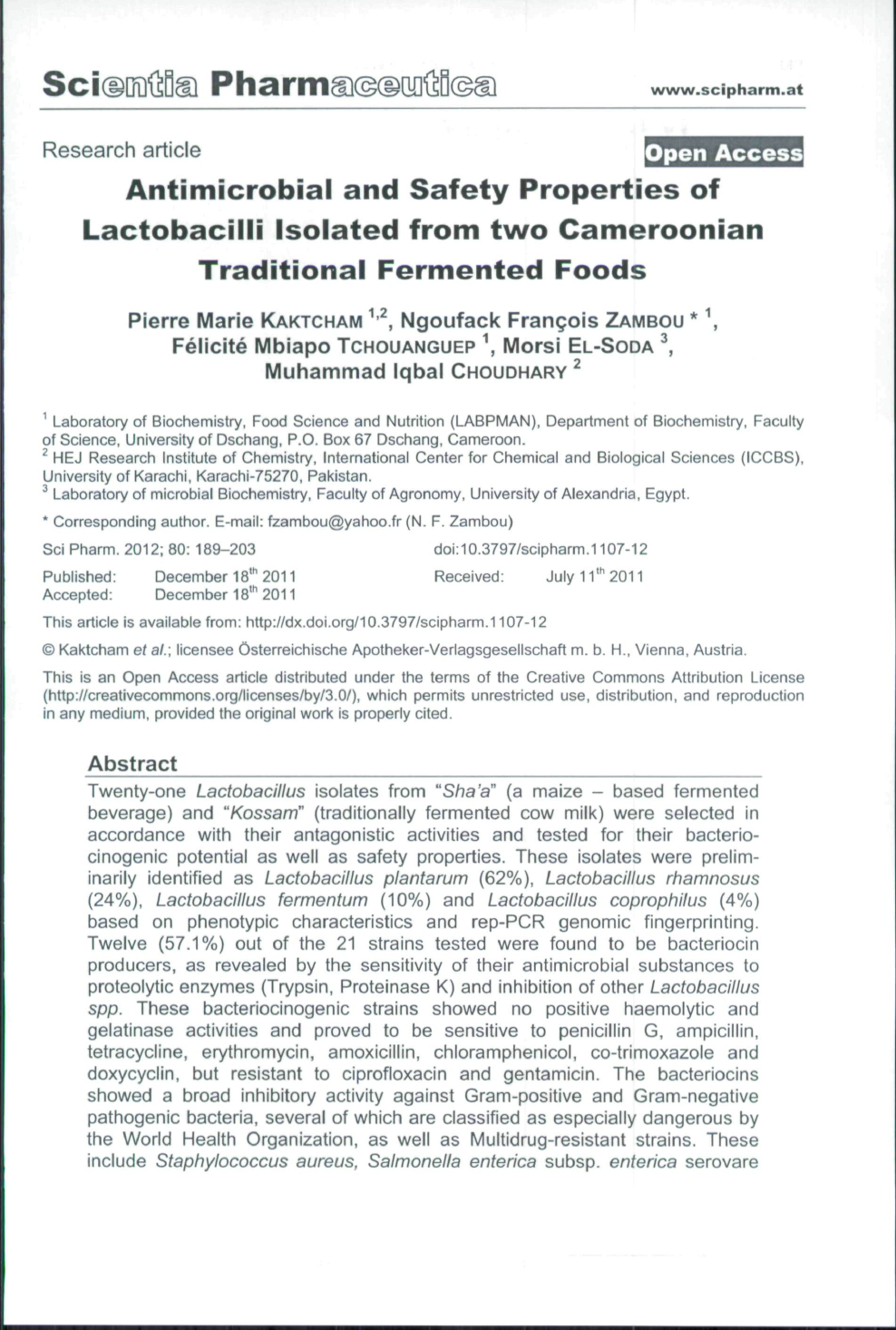 Antimicrobial and Safety Properties of Lactobacilli Isolated from