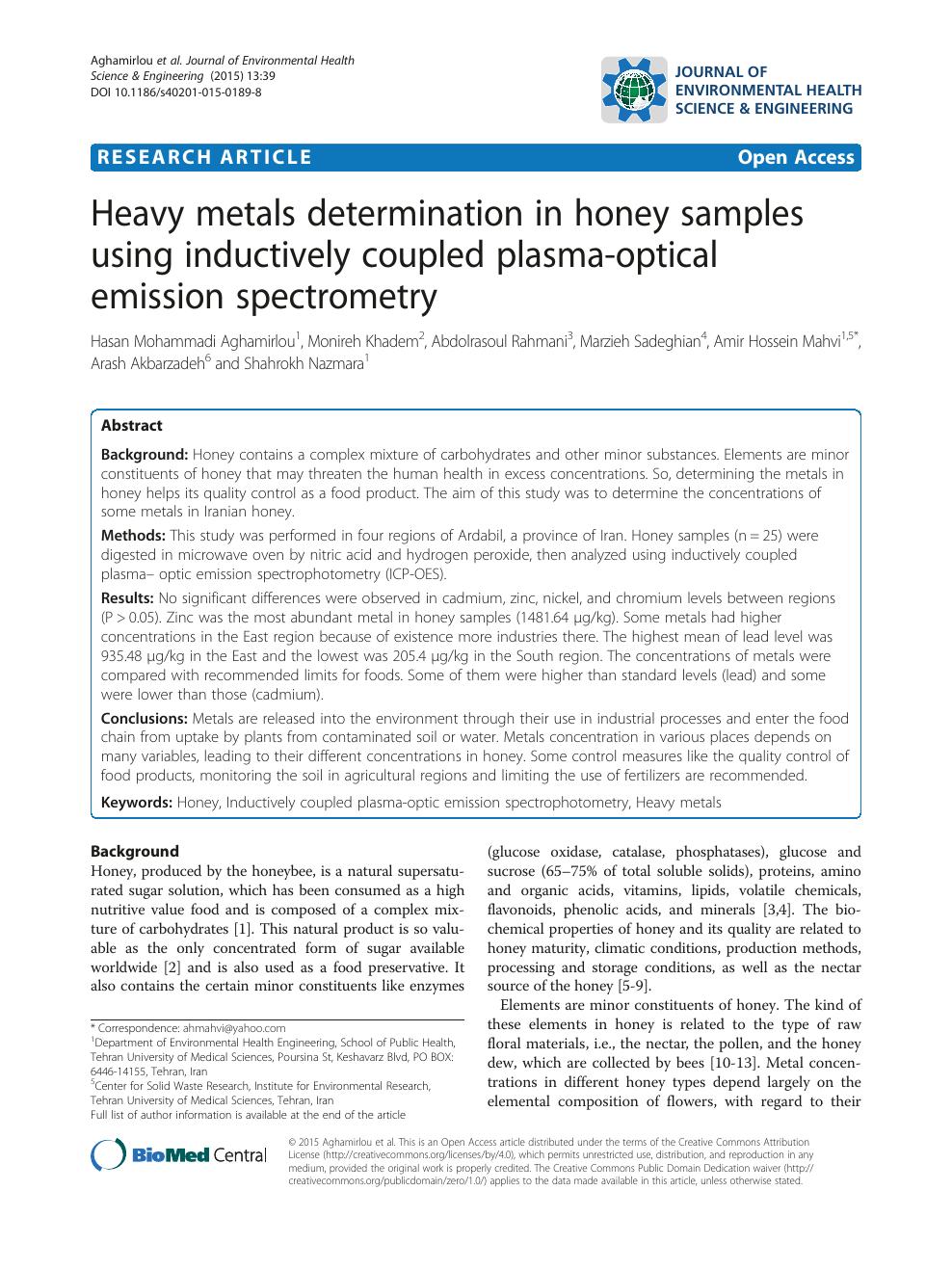 Heavy metals determination in honey samples using