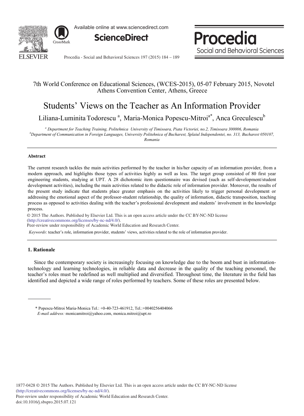 Students' Views on the Teacher as An Information Provider