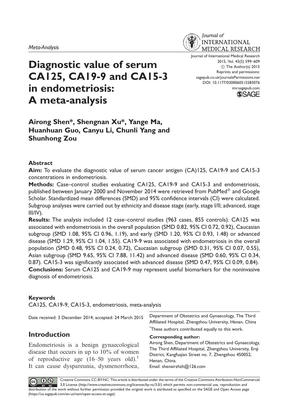 Diagnostic value of serum CA125, CA19-9 and CA15-3 in