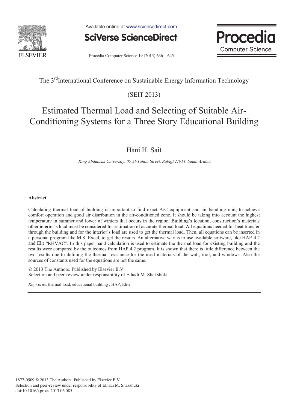 Estimated Thermal Load and Selecting of Suitable Air