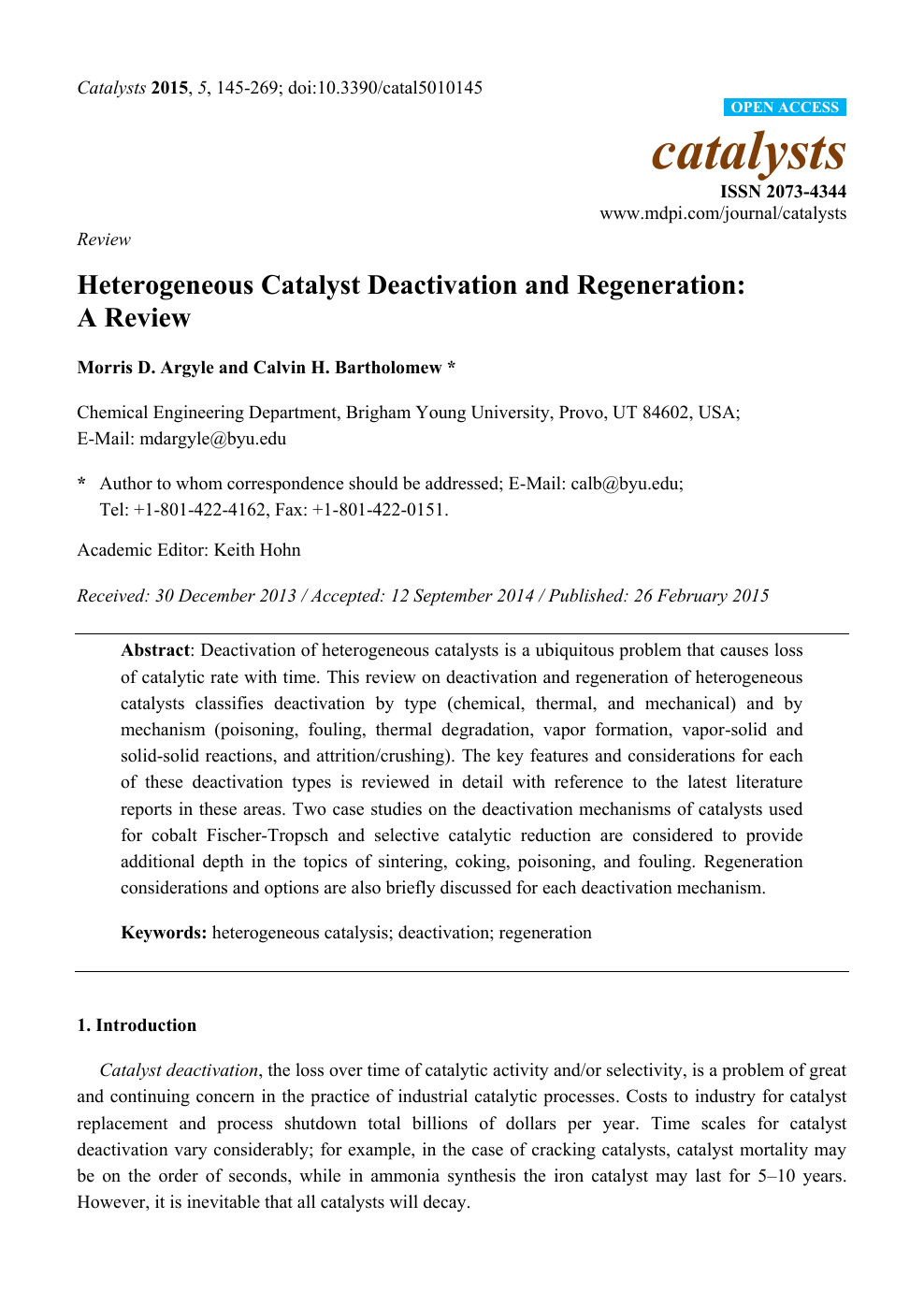 Heterogeneous Catalyst Deactivation and Regeneration: A Review