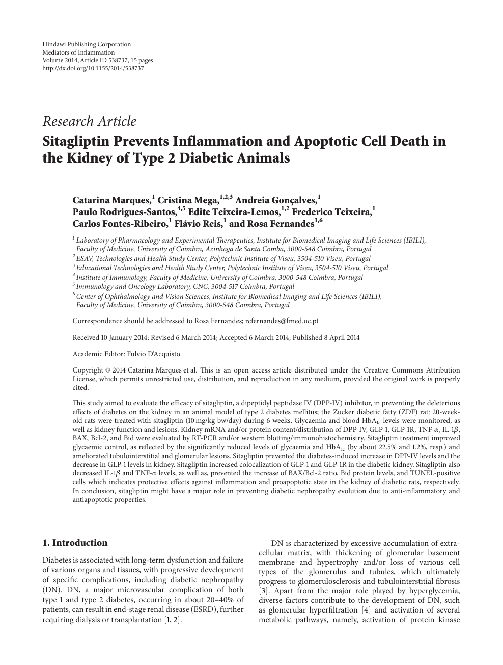 Sitagliptin Prevents Inflammation and Apoptotic Cell Death