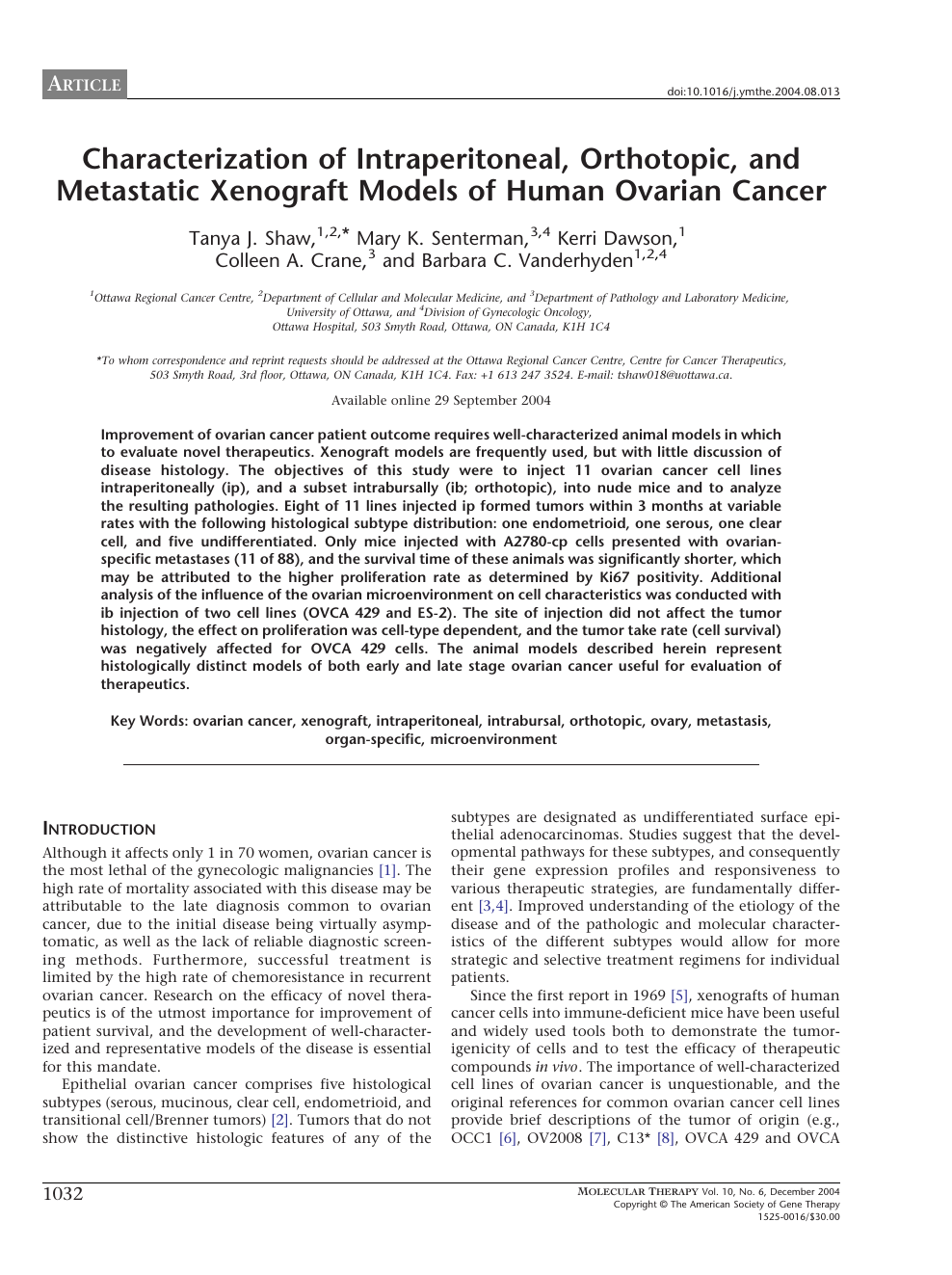 Characterization Of Intraperitoneal Orthotopic And Metastatic Xenograft Models Of Human Ovarian Cancer Topic Of Research Paper In Biological Sciences Download Scholarly Article Pdf And Read For Free On Cyberleninka Open Science