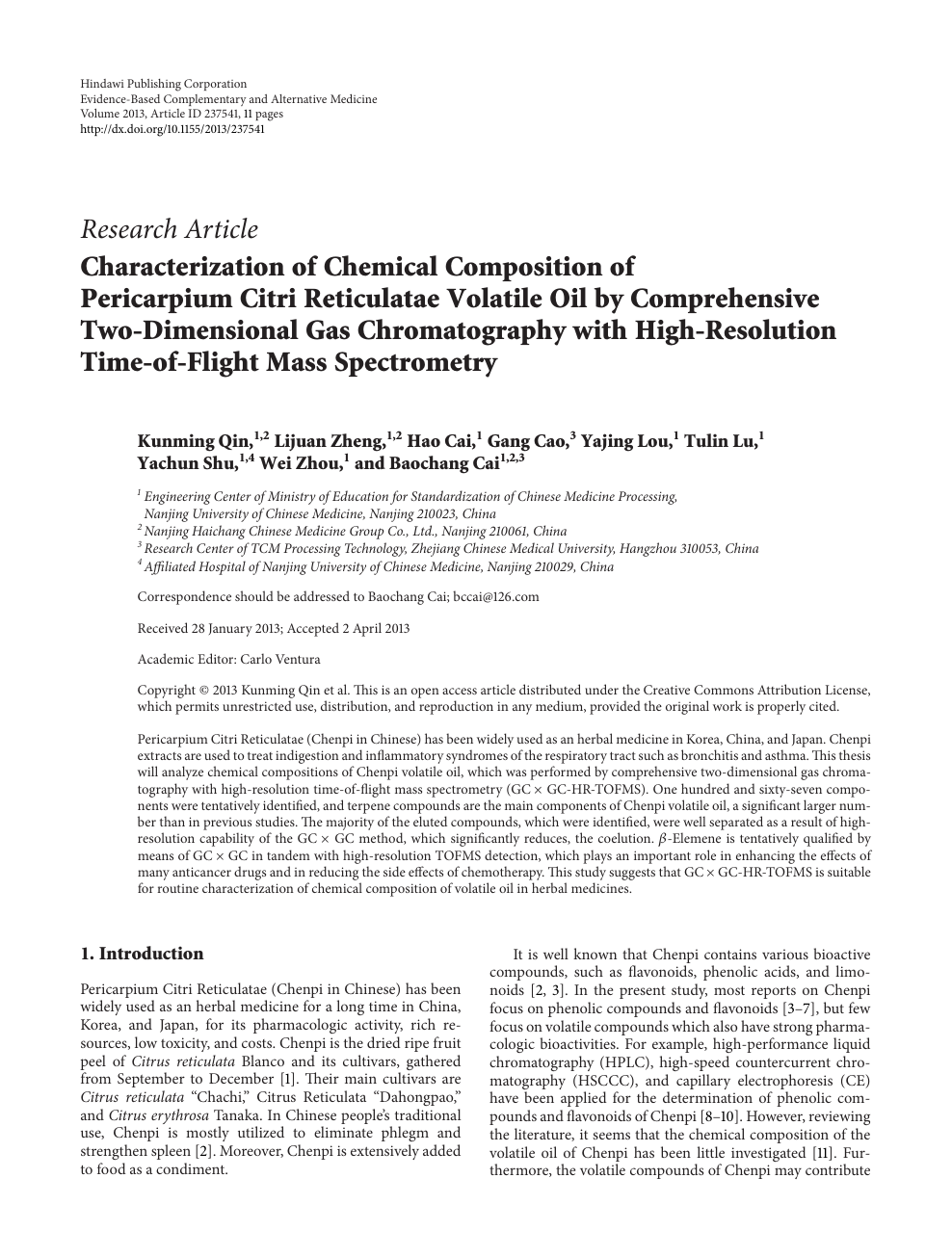 Characterization of Chemical Composition of Pericarpium